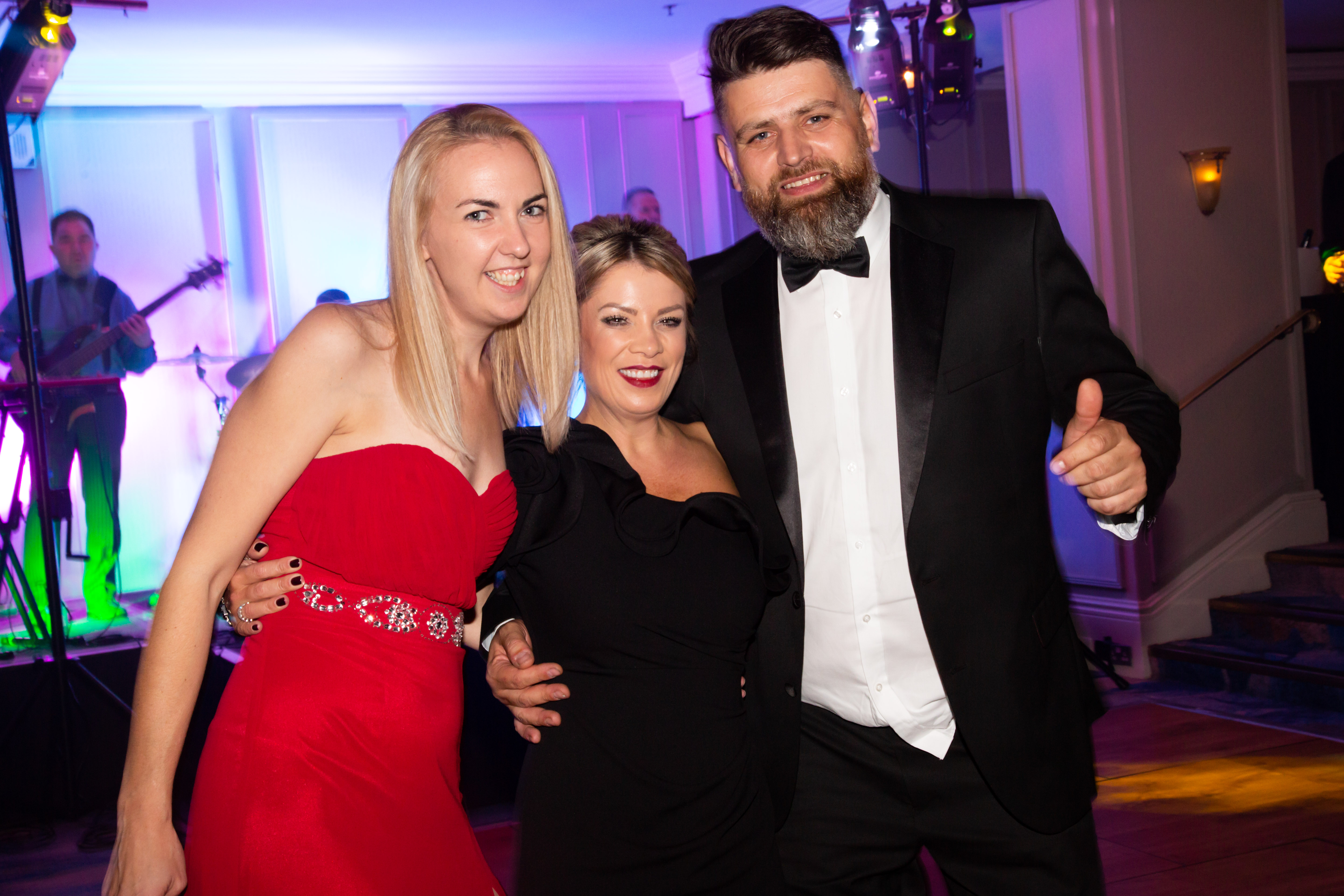 Above: Windles' sales director Andrea Norcott (centre) with colleagues Greg Parzniewski (bagging and Kard Klasping manager) and Lyndsey King (finishing manager) at the awards event.