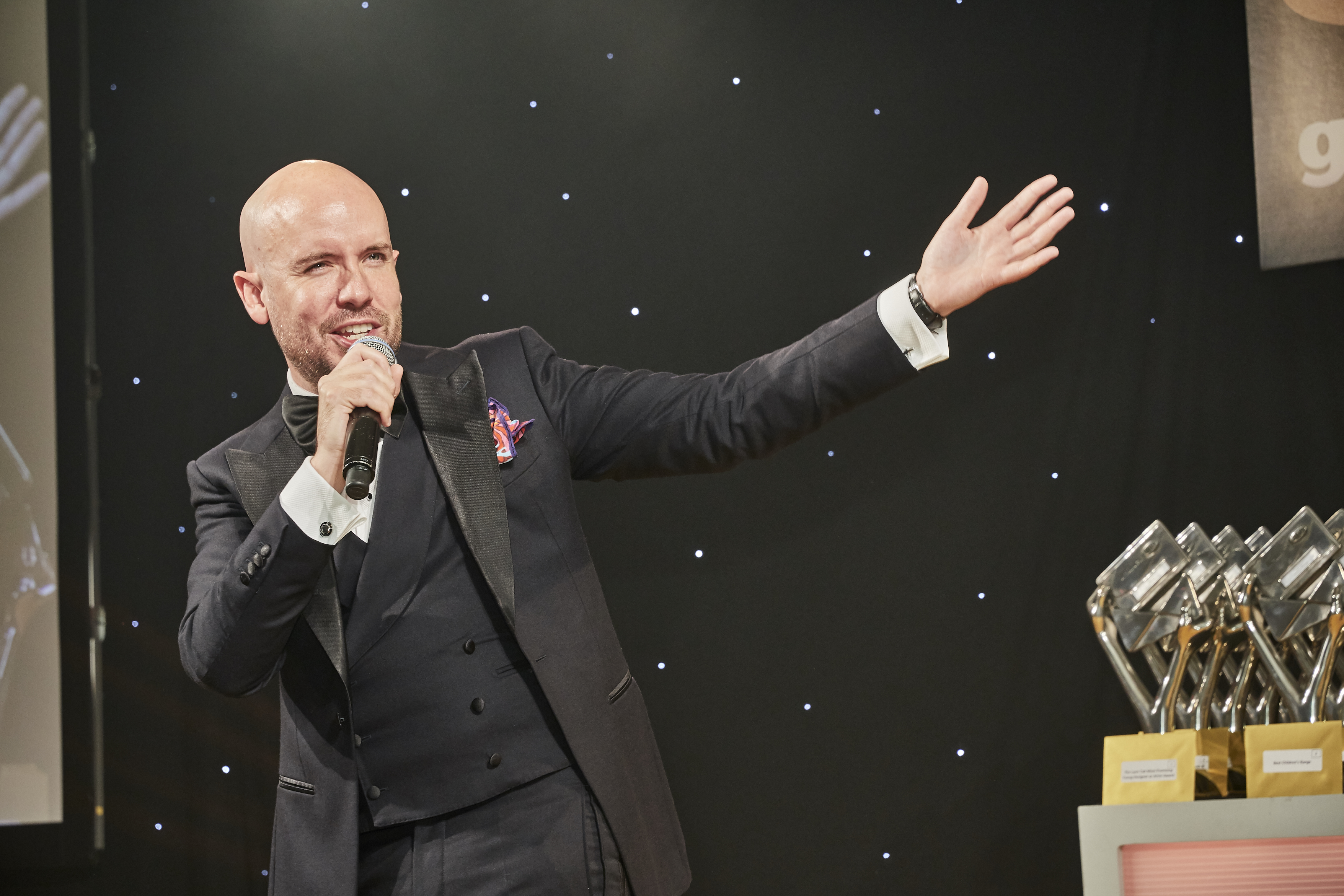 Above: Comedian and TV presenter, Tom Allen was spot on as host for The Henries.