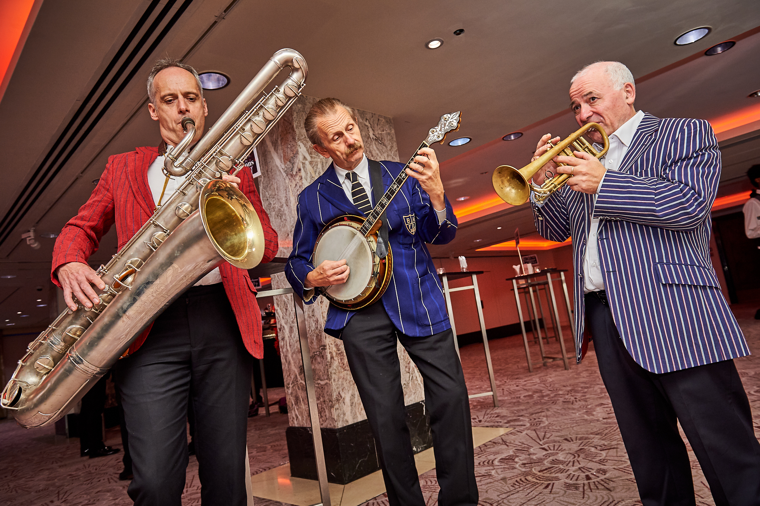 Above: The 12th Street Swingers in full flow in the reception.