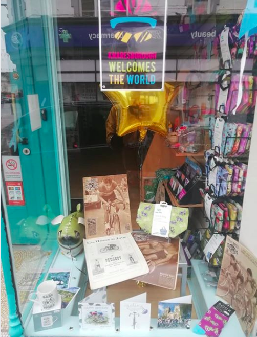 Above: Dragonfly Cards and Gifts' window that celebrated the recent UCI Road World Championship that came through Knaresborough.