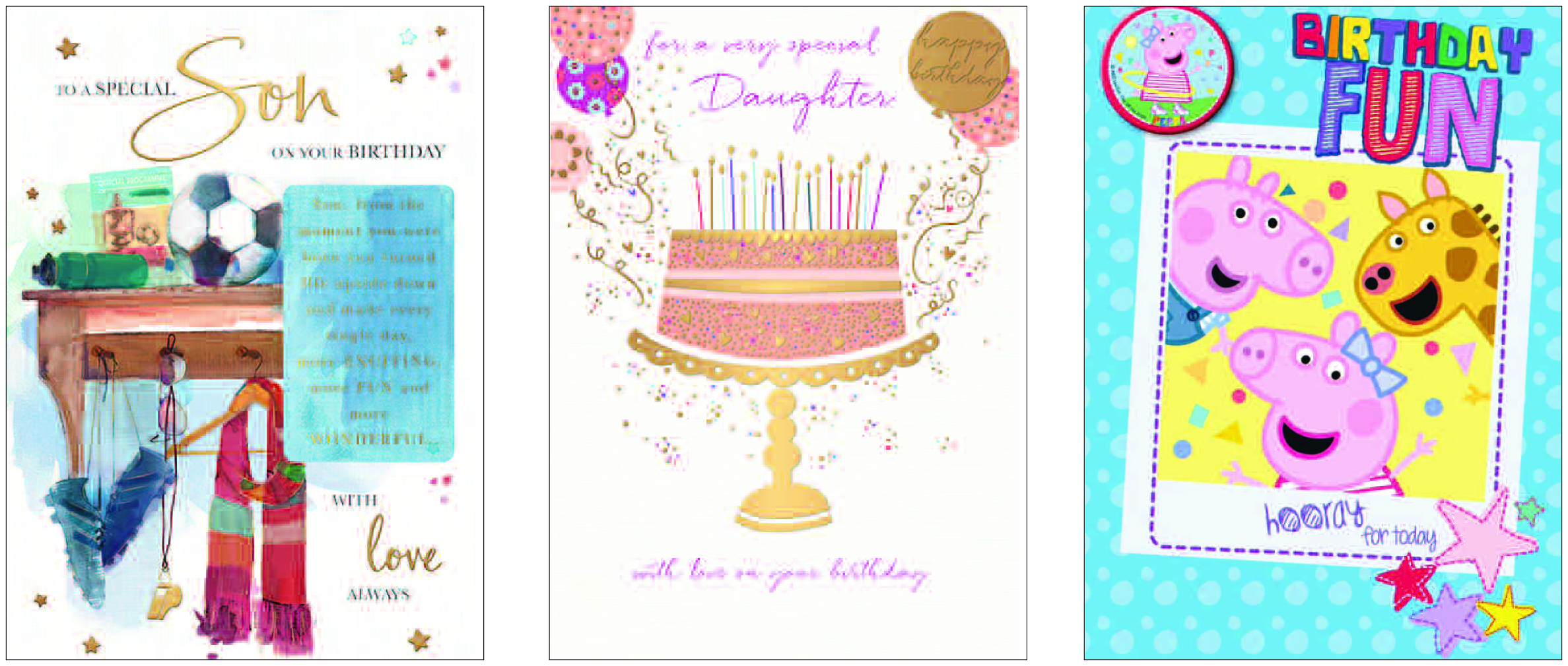 Above: (left-right) A Words 'n' Wishes Moments in Time design and Halcyon Days design (both brand new launches) as well as a new Peppa Pig design from Danilo.