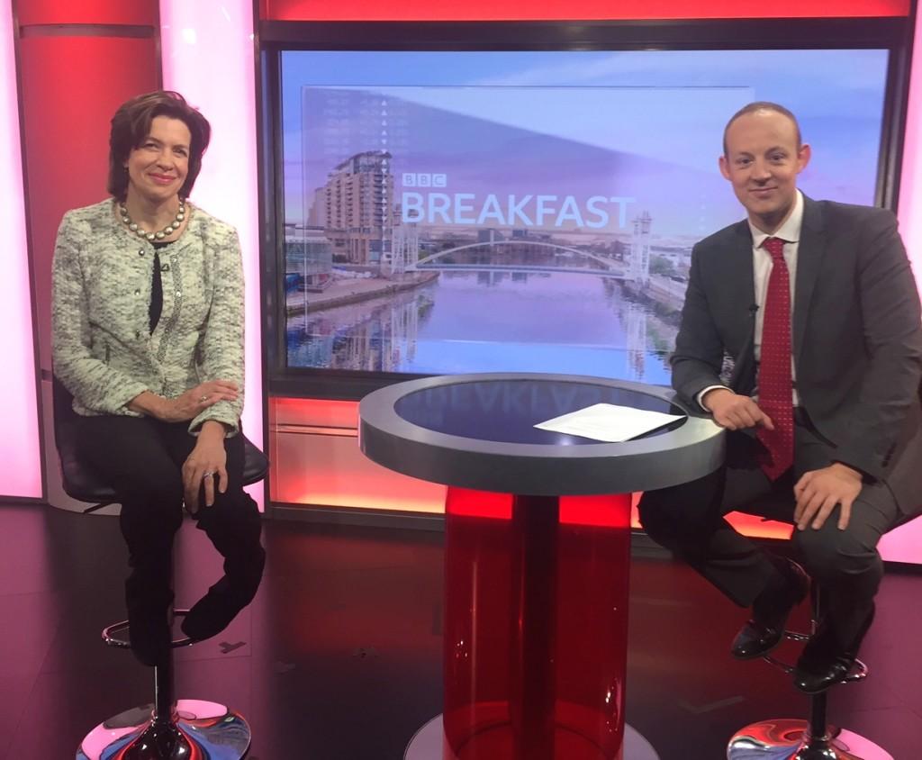 Above: BBC's business reporter Sean Farrington with Amanda Fergusson, ceo of the GCA in the BBC Breakfast studio.