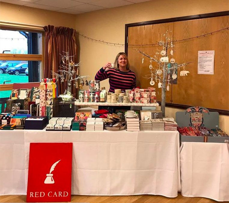 Above: Red Card was also out in the community – with stalls at various Christmas fairs, such as this one in Lodsworth Village Hall in aid of Conifers School Midhurst.