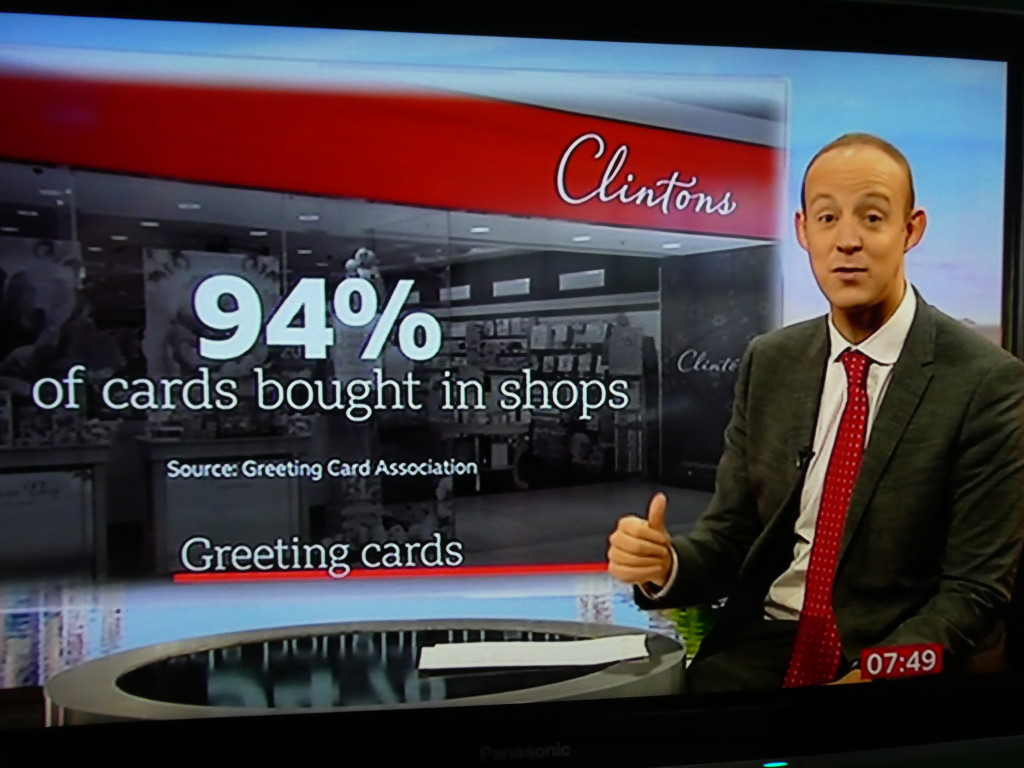 Above: The screen graphics highlighted the size and shape of the UK greeting card industry.