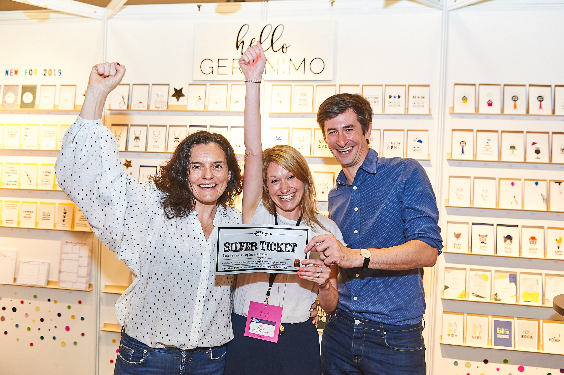Above: Mark and (left) Leona Janson-Smith with Hello Geronimo's Vicky Kelsden at this year's PG Live.