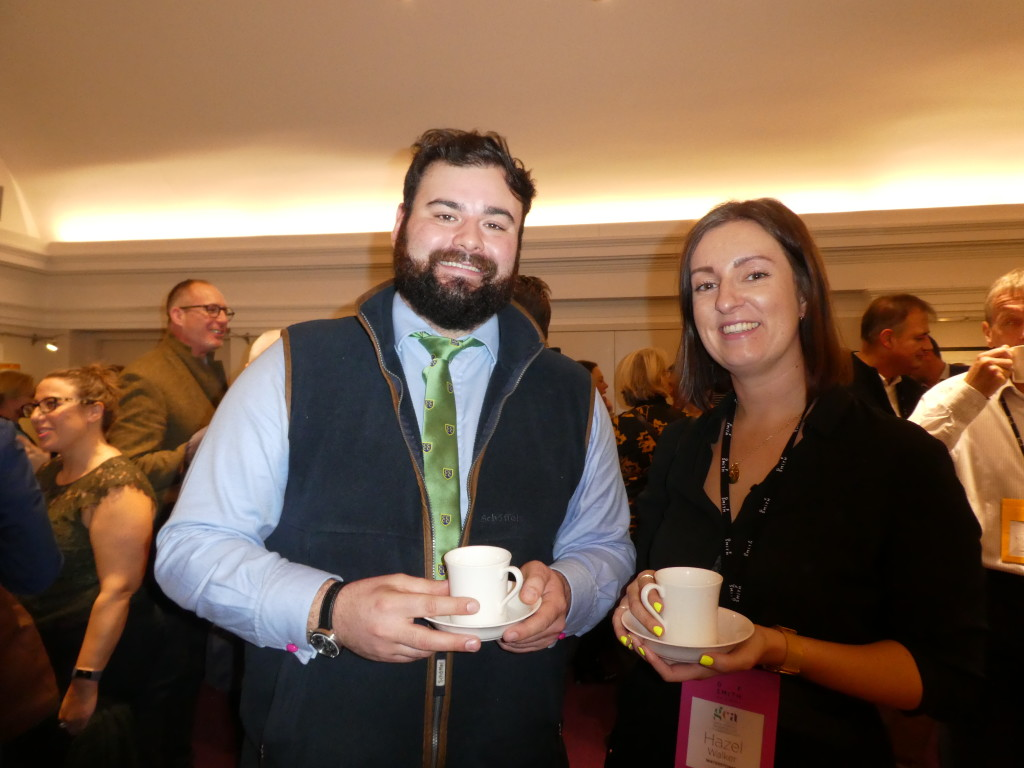 Above: James Mace, sales and marketing manager of The Art File at the recent GCA gathering, catching up with Hazel Walker, senior buyer of Waterstones.