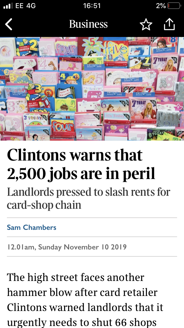 Above: The headline of The Sunday Times' most recent online version of the news story about Clintons.