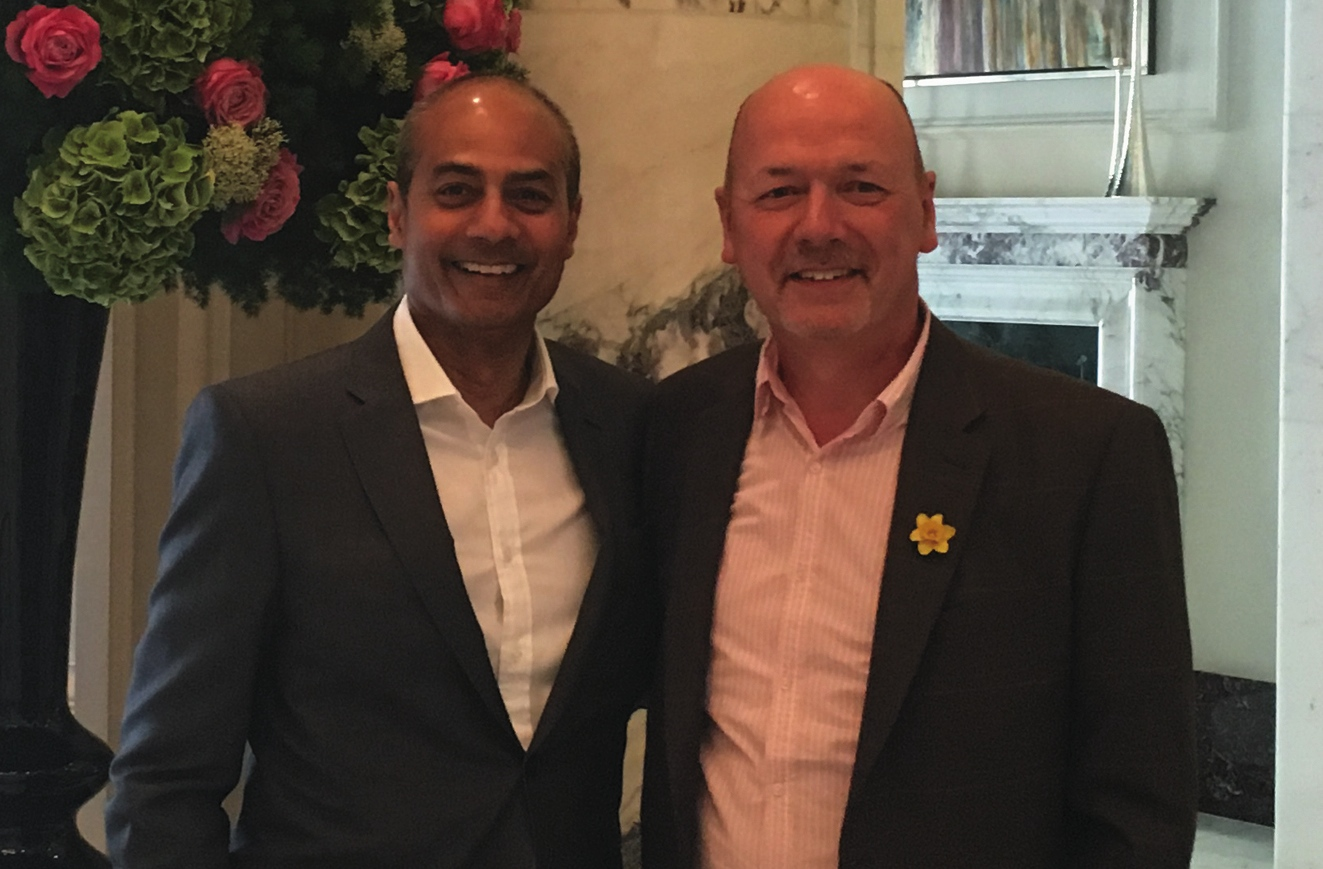 Above: (right) Chris Wilcox, md of GBCC with BBC newsreader George Alagiah. The two men were at university together.