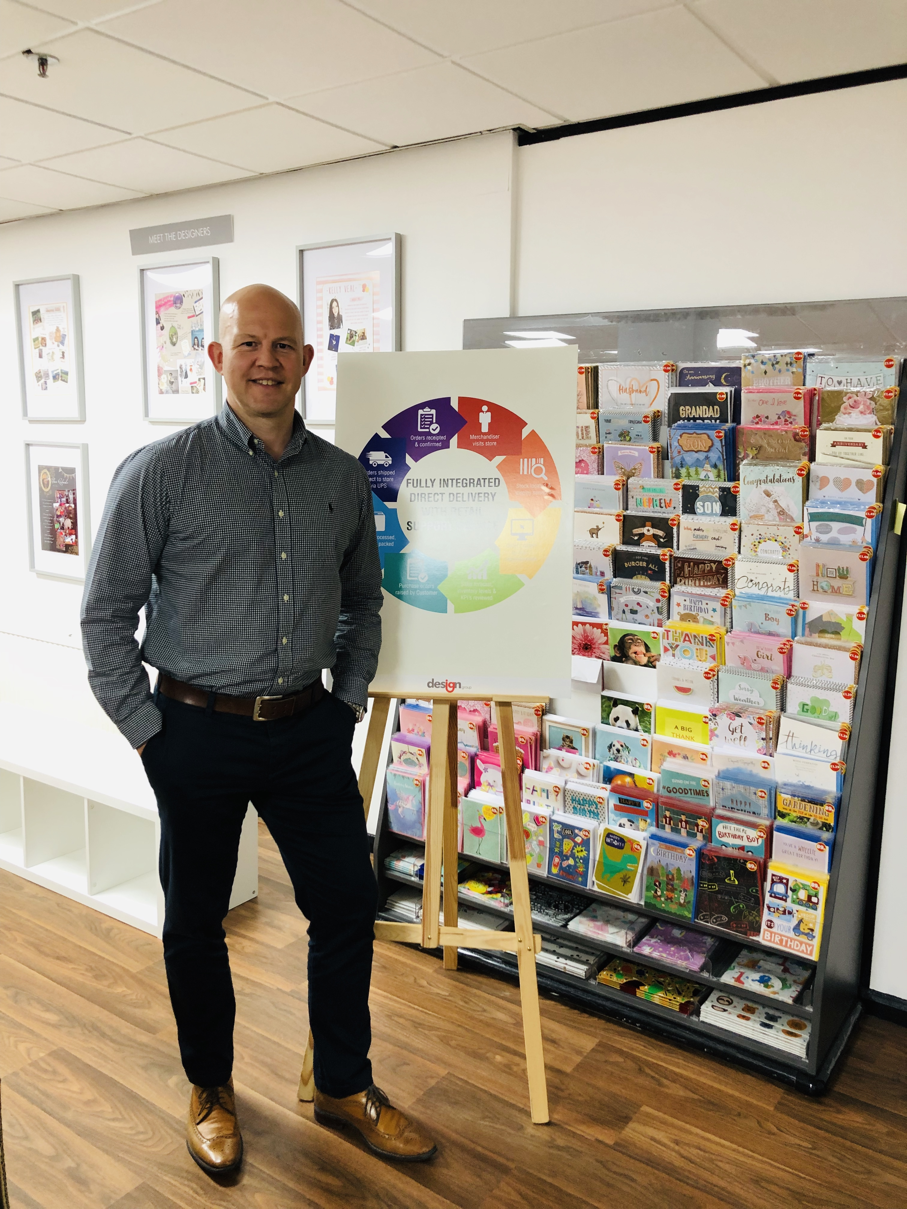 Above:David Jackson, Design Group UK's greetings card channel controller in front of an Aldi display.