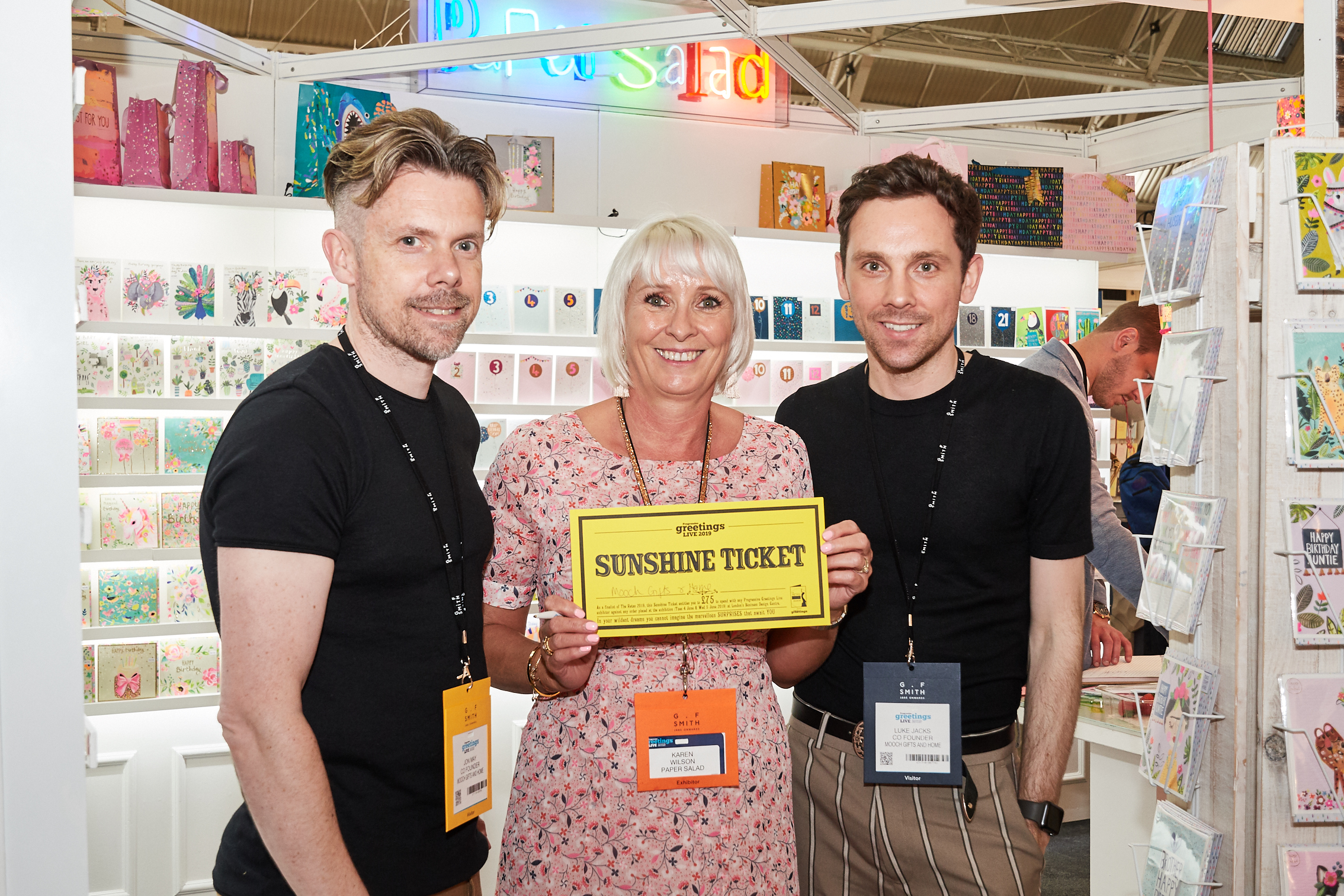 Above: Jon May (left) and Luke Jacks, co-owners of Mooch in Stourport-on-Severn and Bewdley, spending their Retas Sunshine ticket with Paper Salad's co-owner Karen Wilson at PG Live.