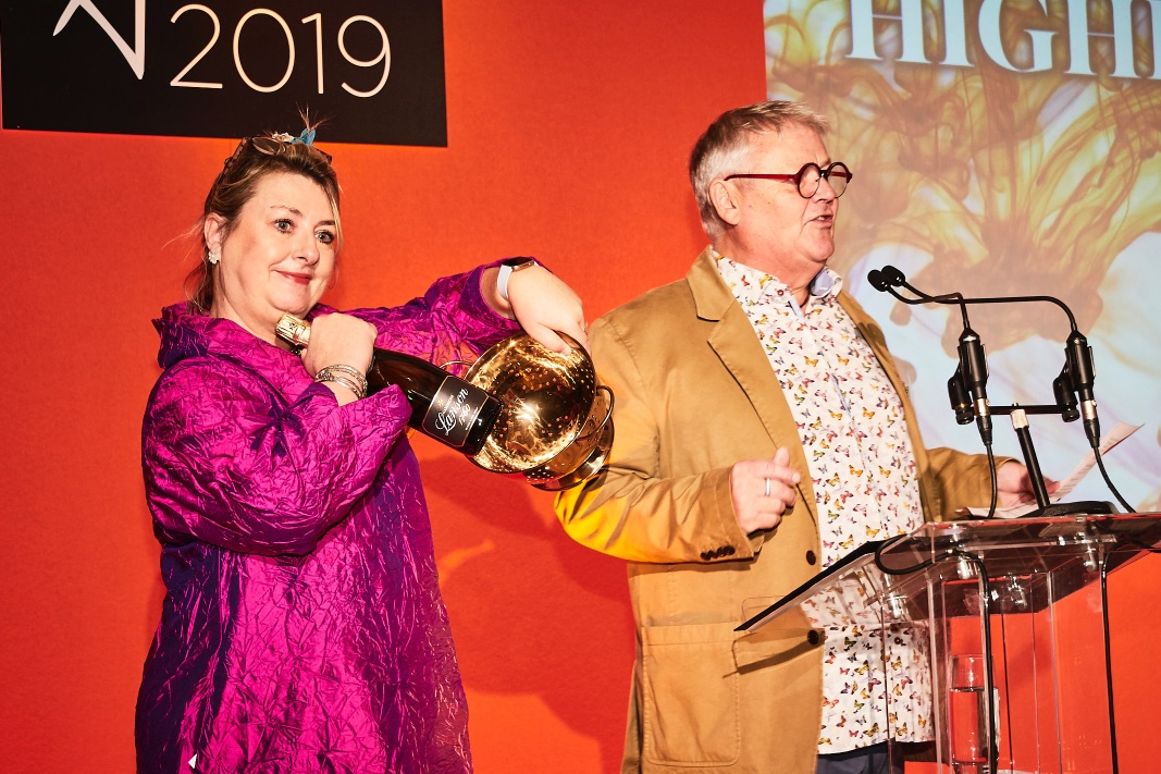Above: There was a Golden Colander (and bottle of champagne) up for grabs in an elimination 'Higher or Lower' quiz with PG's Jim Bullough as quiz master.