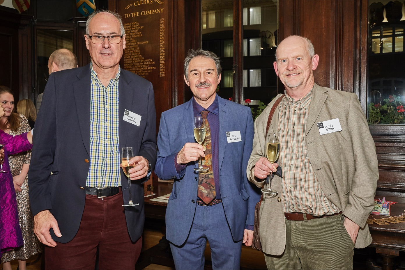Above: (centre) Medici Gallery's Tim Reynolds with Alison Gardiner's Alistair Gregory (left) and Andy Gillett.