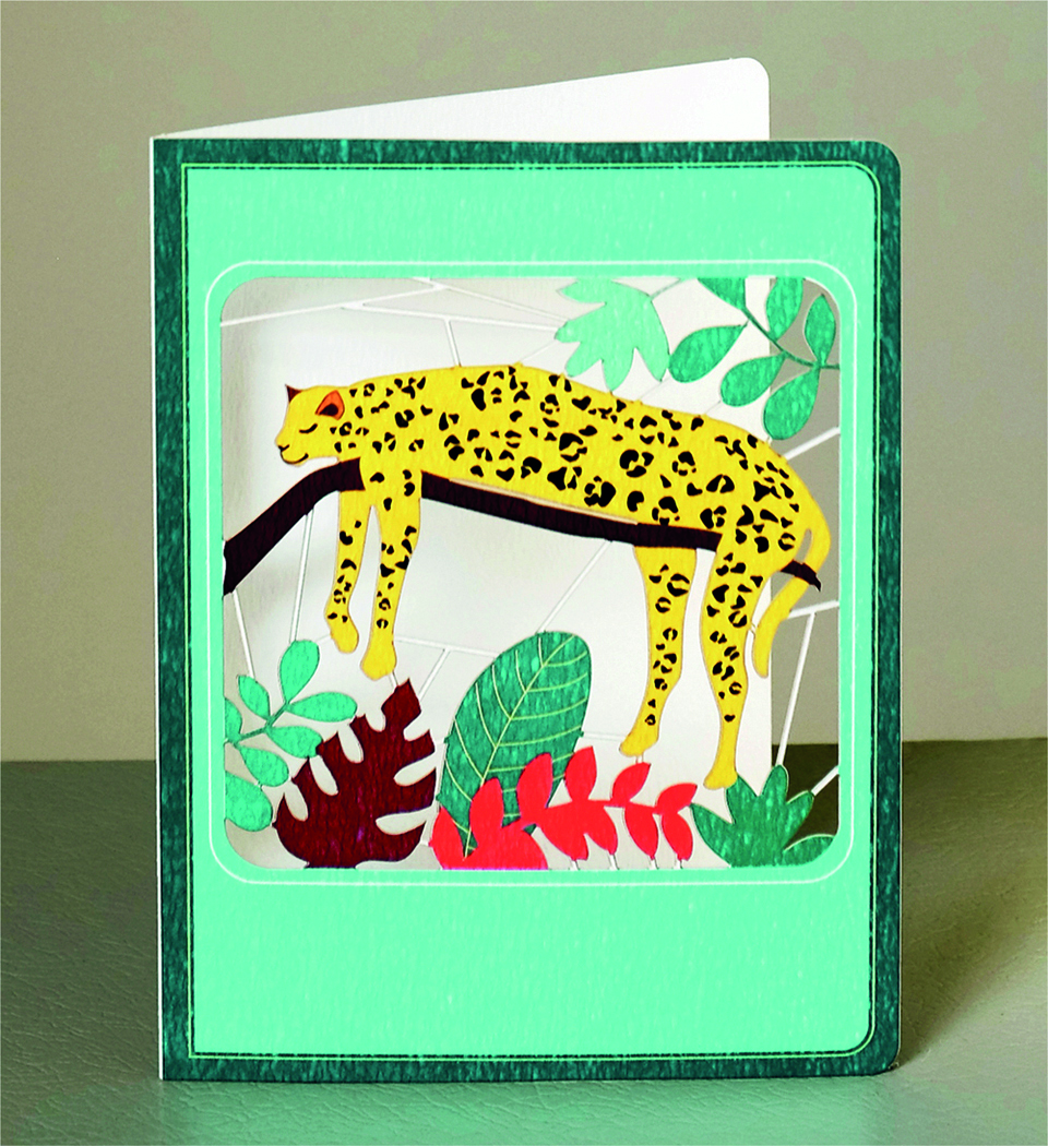Above: A lounging leopard on a lasercut card from Forever Cards.