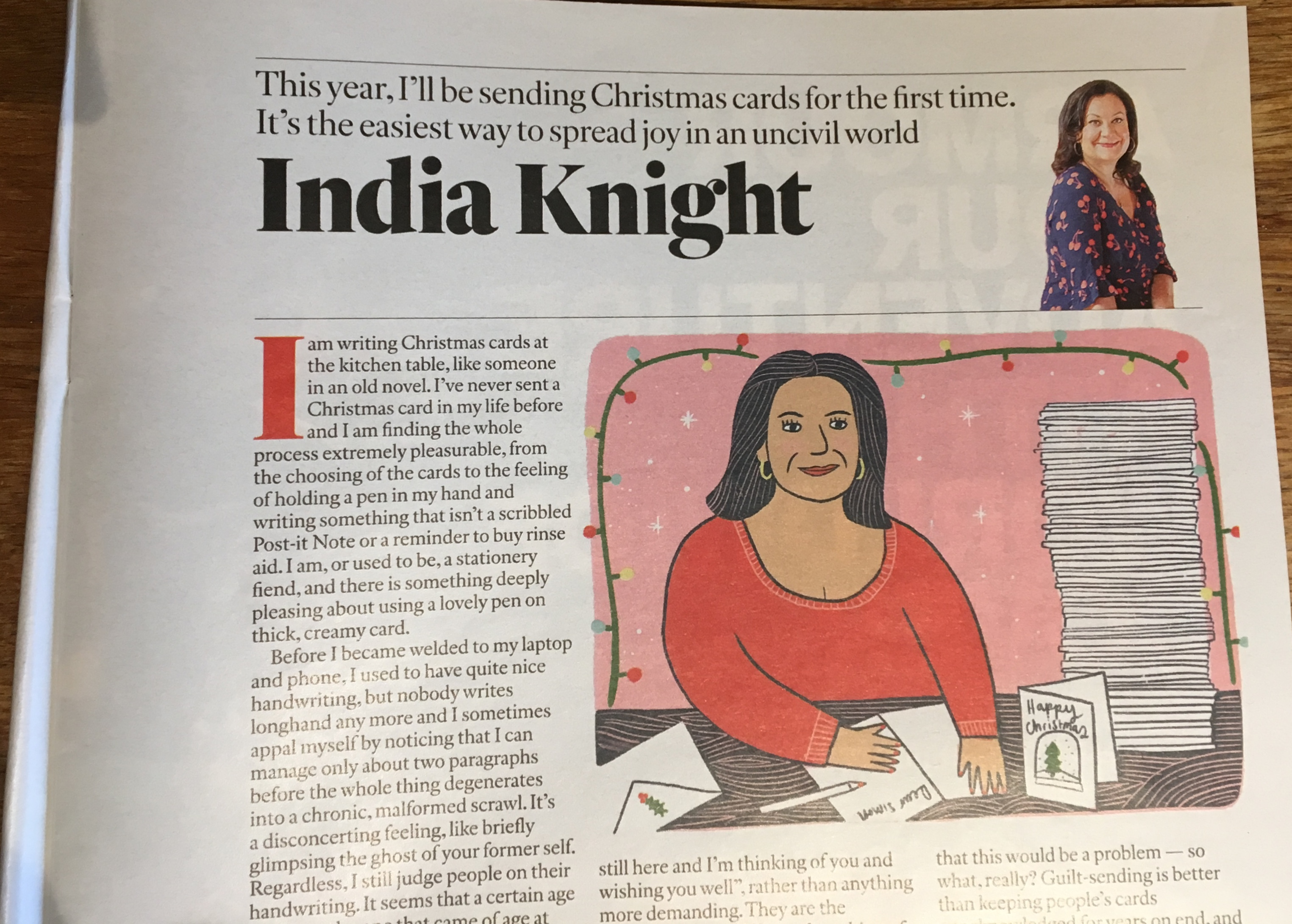 Above: An excerpt of the India Knight column that appeared in the Sunday Times magazine on Sunday 8 December.
