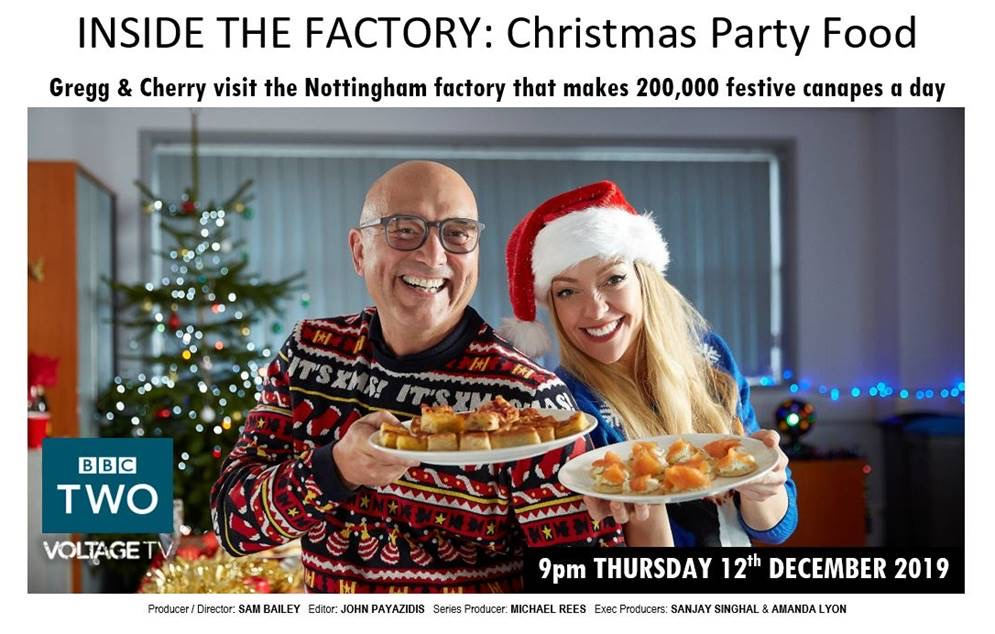 Above: As well as covering Christmas party food the Inside the Factory programme this Thursday (December 12) will feature coverage of the Caltime by Woodmansterne Advents.
