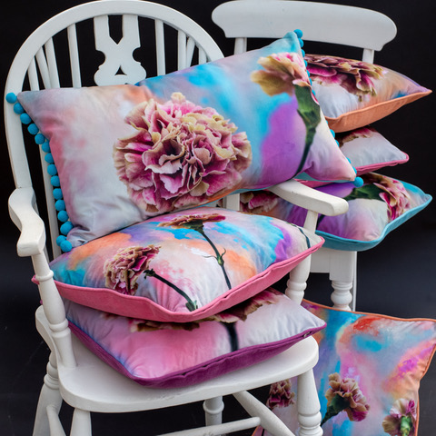 Above: Bev's own creative skills extend to styling and photography, seen here on a Ginger Bee collection of velvet cushions.