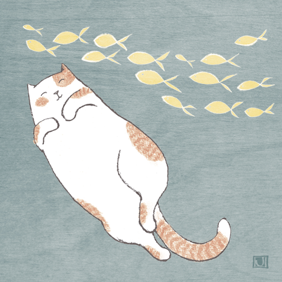 Above: A daydreaming feline on a Paper Bird design.