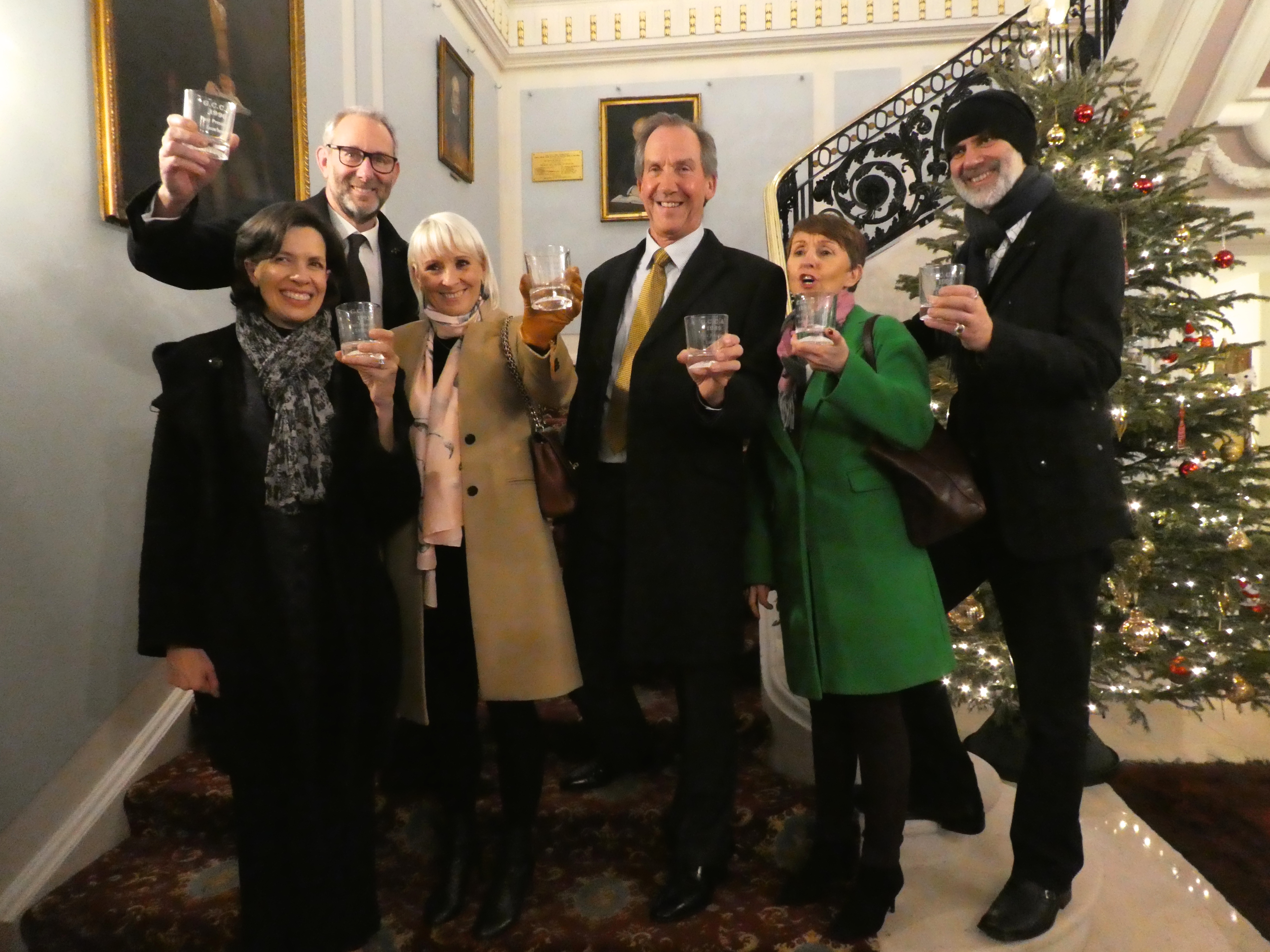 Above: A toast to the past, present and future using historic GCCA glasses, lent by former president Terry Anderson, then of Coronet Cards/Anniversary House. (Left-right) Amanda Fergusson (GCA), Ged Mace (The Art File), Karen Wilson (Paper Salad), Tim Porte (formerly of Paperlink), Ceri Stirland (UKG) and David Hicks (Really Good/Soul).