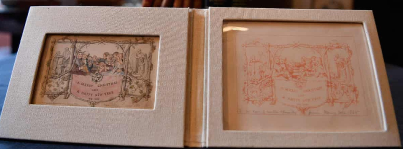 Above: The Henry Cole original card and the proof that is now on show at the Dickens Museum. It has been lent by a book dealer in San Francisco.