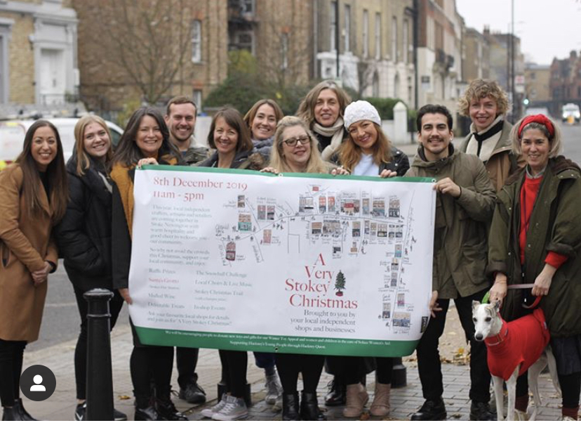 Above: Local Stoke Newington independents have really got behind A Stokey Christmas event which took place last Sunday. Heidi Early (5thleft) of Earlybird Designs was one of the organisers.