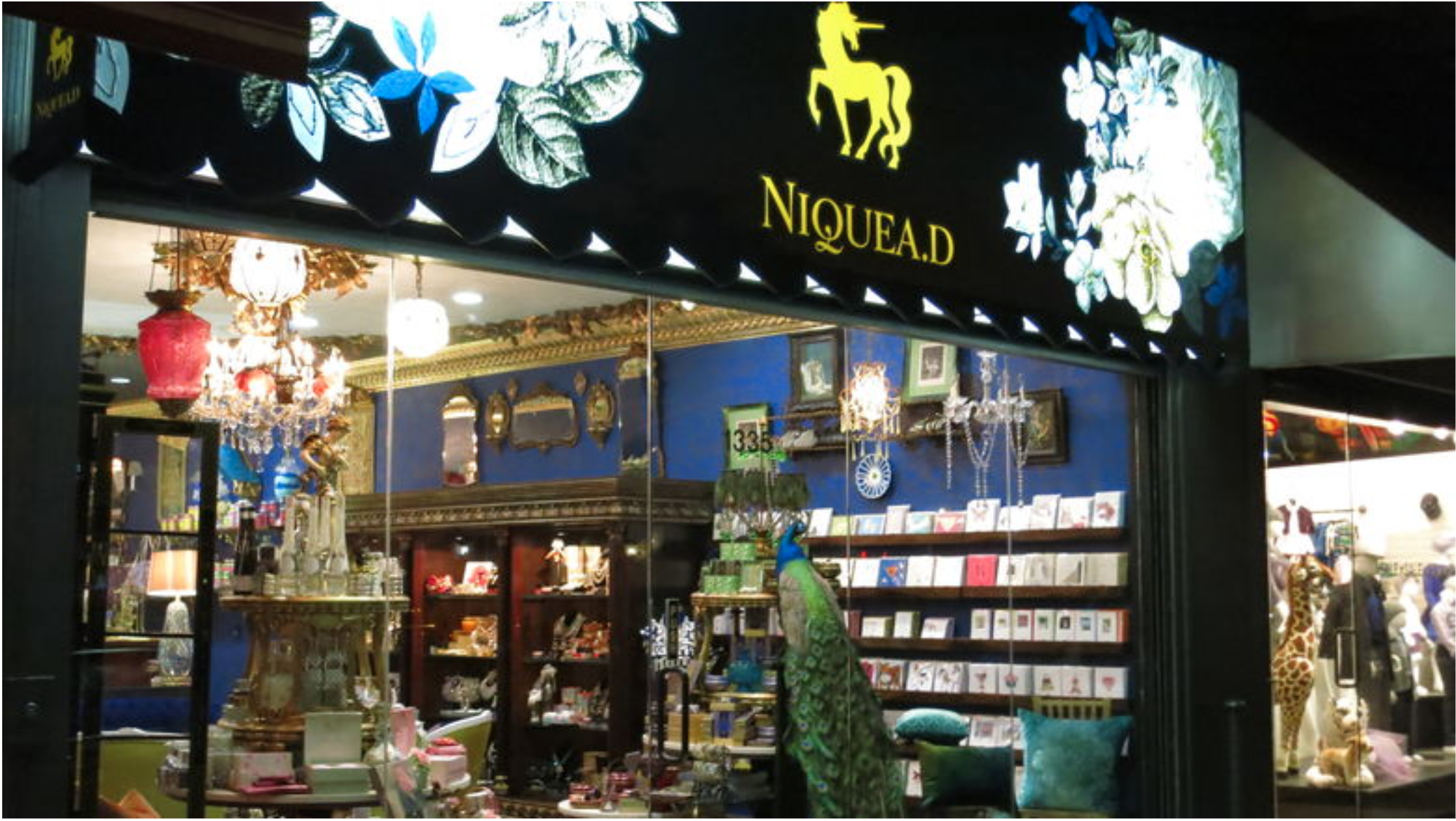 Above: UK publishers' cards were also on sale in SRG's upmarket lifestyle brand,Niquea.D.