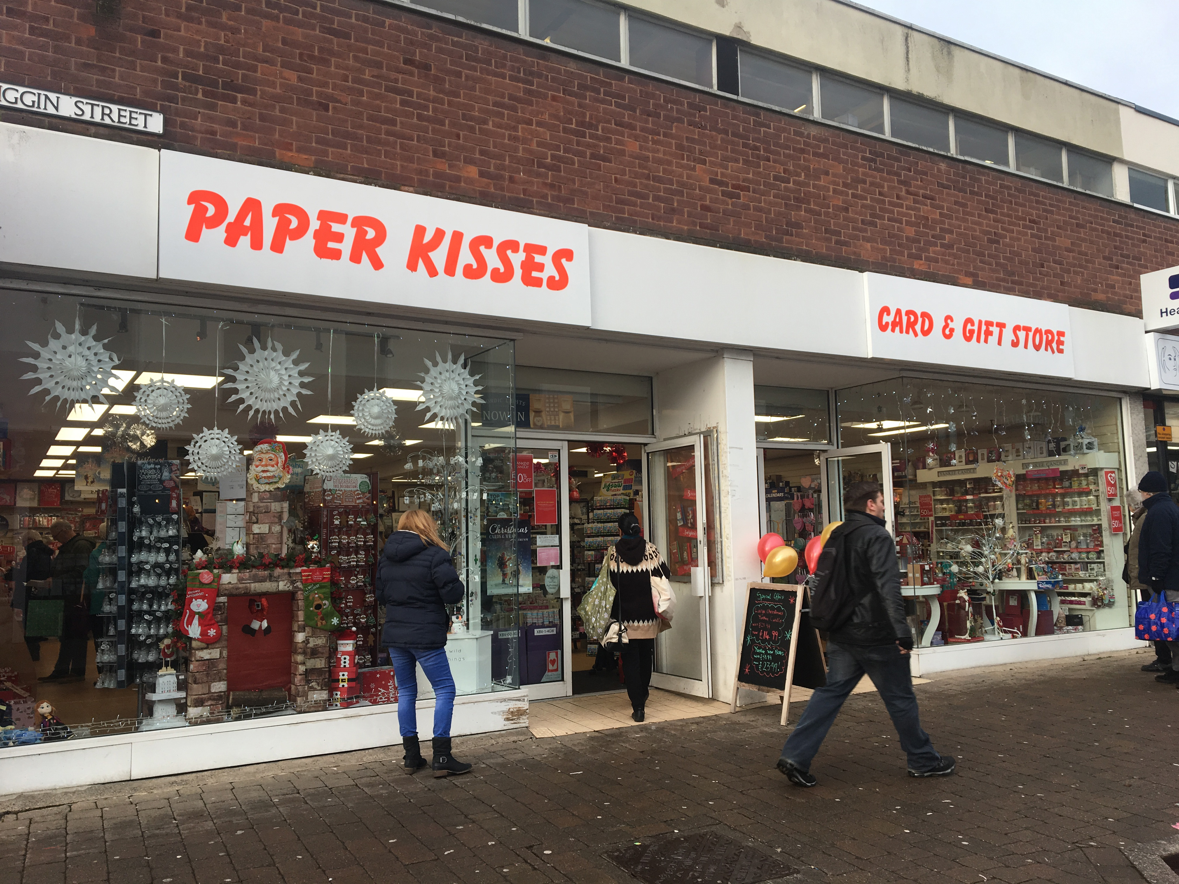 Above: Cardzone's Paper Kisses' store in Loughborough.