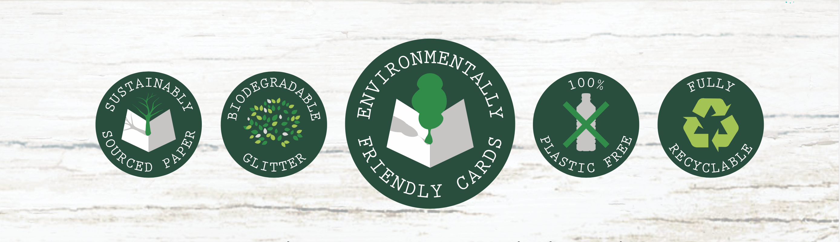 Above: Some of the icons Into the Green Publishing has devised to communicate its environmental credentials to the trade.