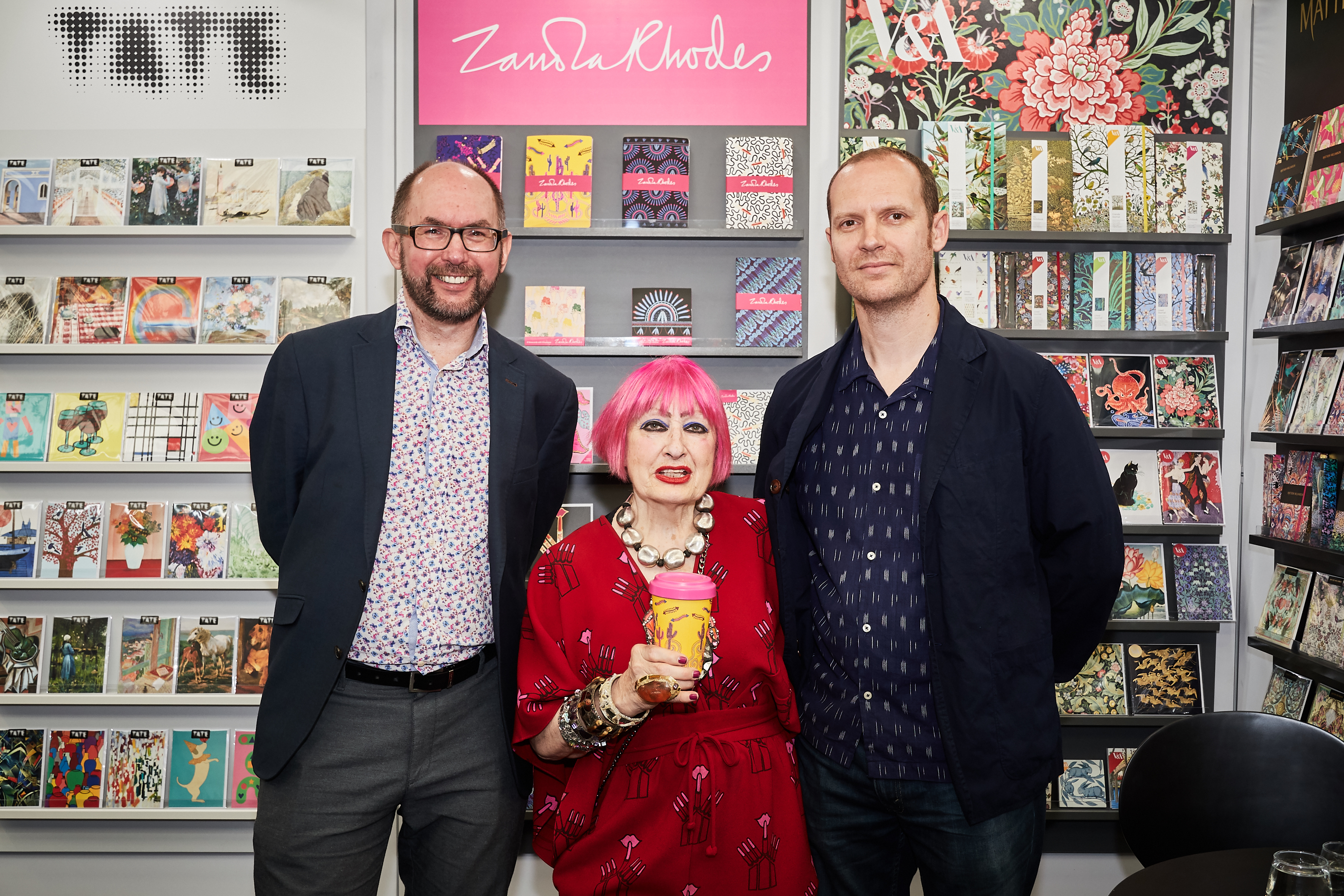 Above: Ben Dorney (right), who is now group creative director covering both Mint and Museums & Galleries with the group's licensing manager Eddie Clarke and Dame Zandra Rhodes at PG Live last June which saw the launch of the licensed range from M&G.