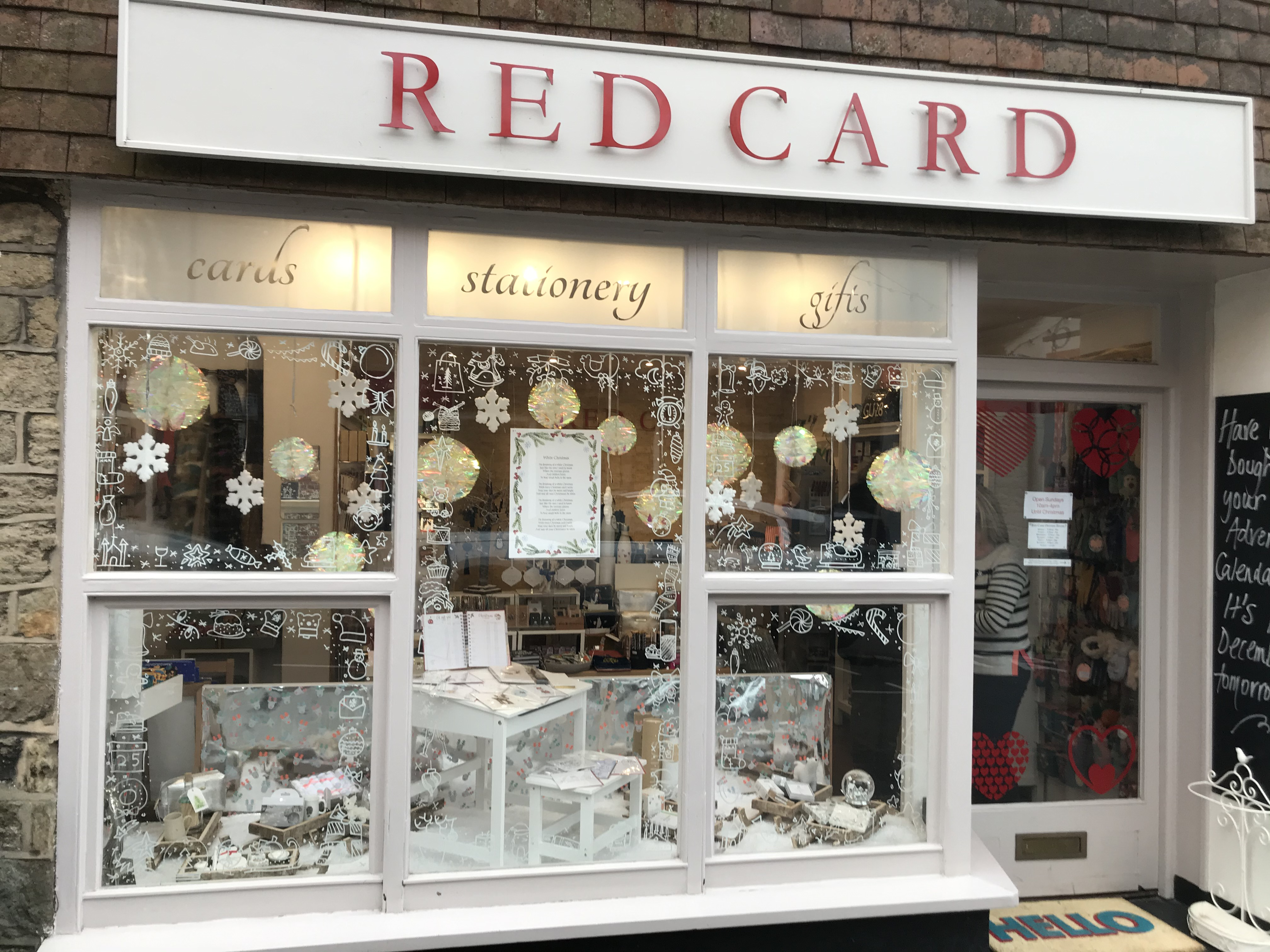 Above: The Red Card festive shopfront, which was on a White Christmas theme.