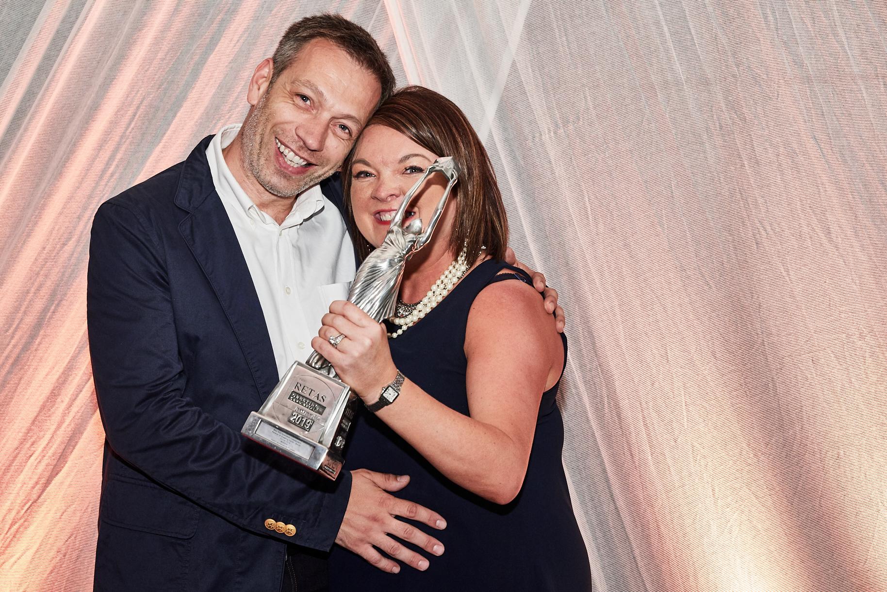 Above: Rachel and Paul Roberts with their Retas award.