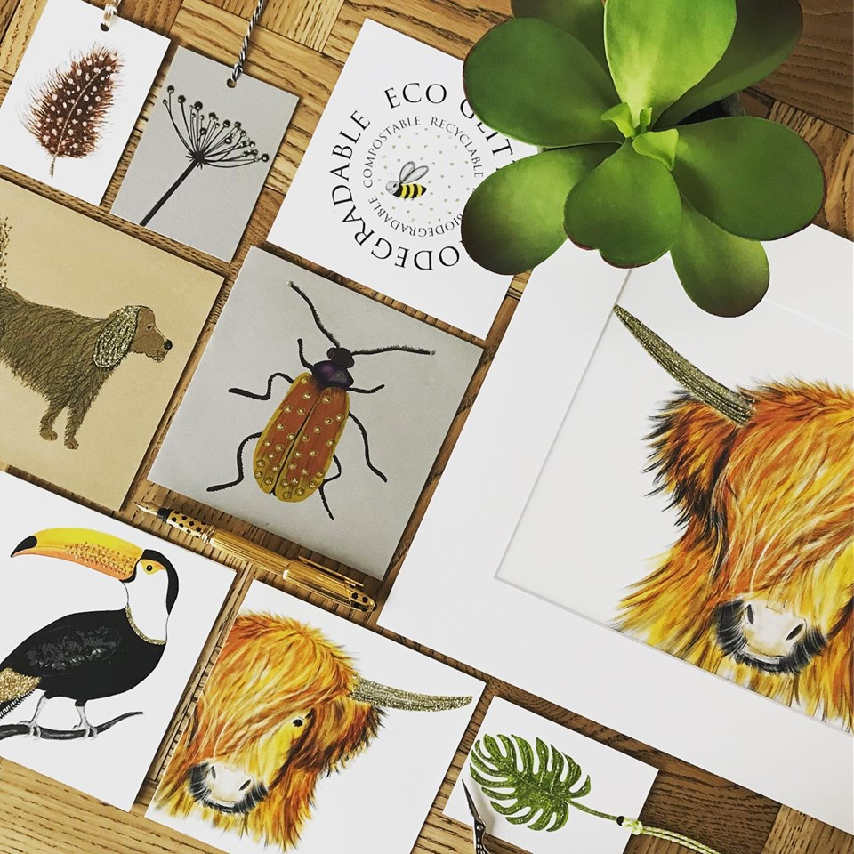 Above: The lovely English Graphics collection includes many different animals and items from the natural world, all enhanced with biodegradable flitter.
