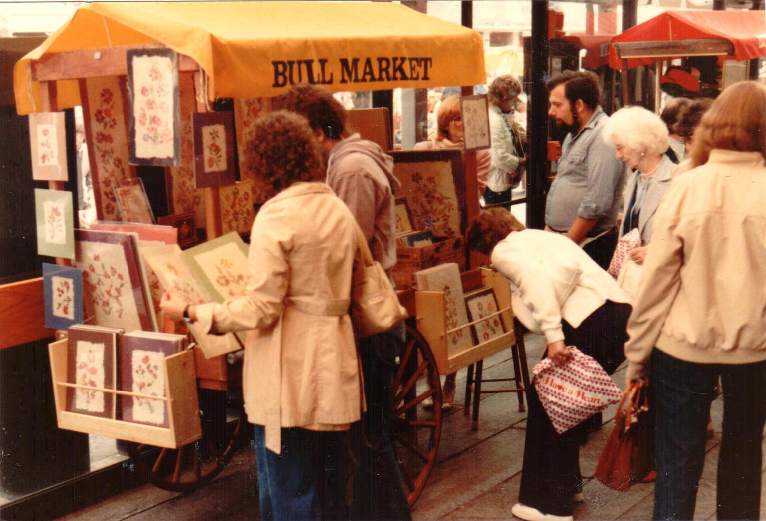 Above:Alan selling from his small pushcart at Boston's Faneuil Hall Marketplace in May 1982.