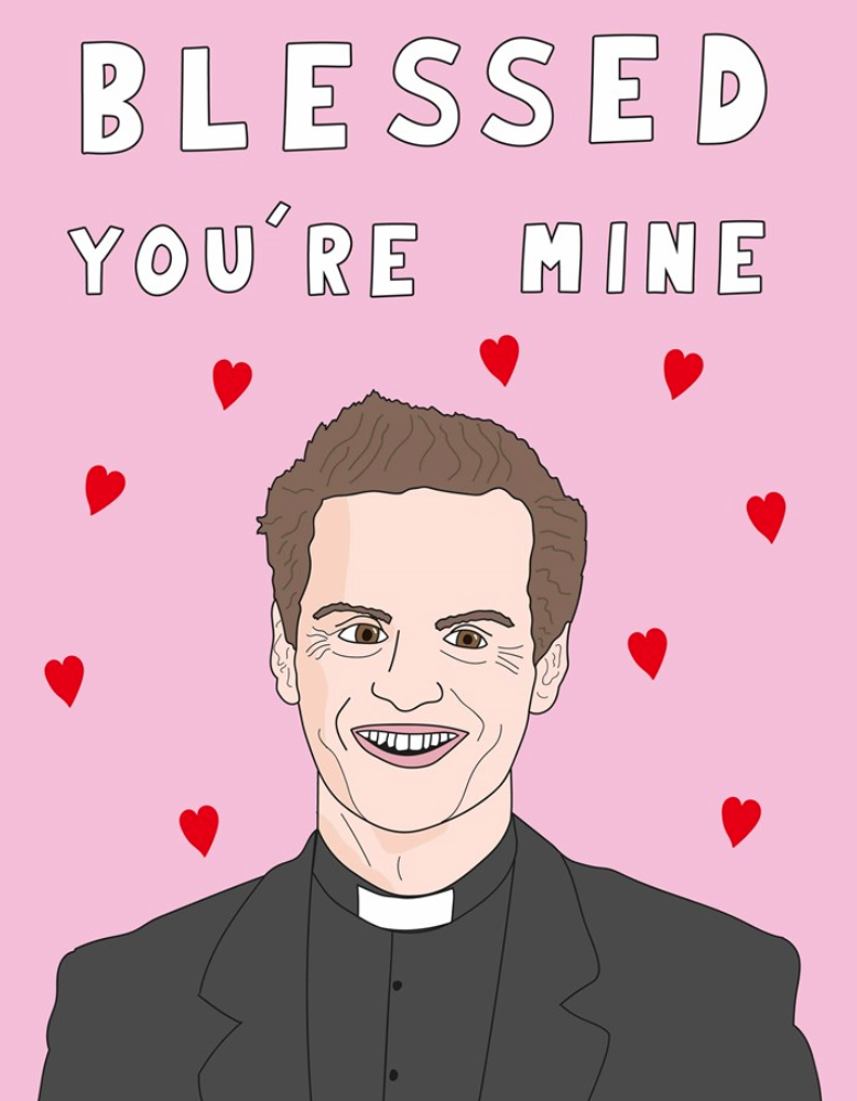 Above: Scribbler's Valentine's Day selection includes tapping into the huge popularity of Fleabag, using this 'hot priest' design on some of its PoS to promote the event.