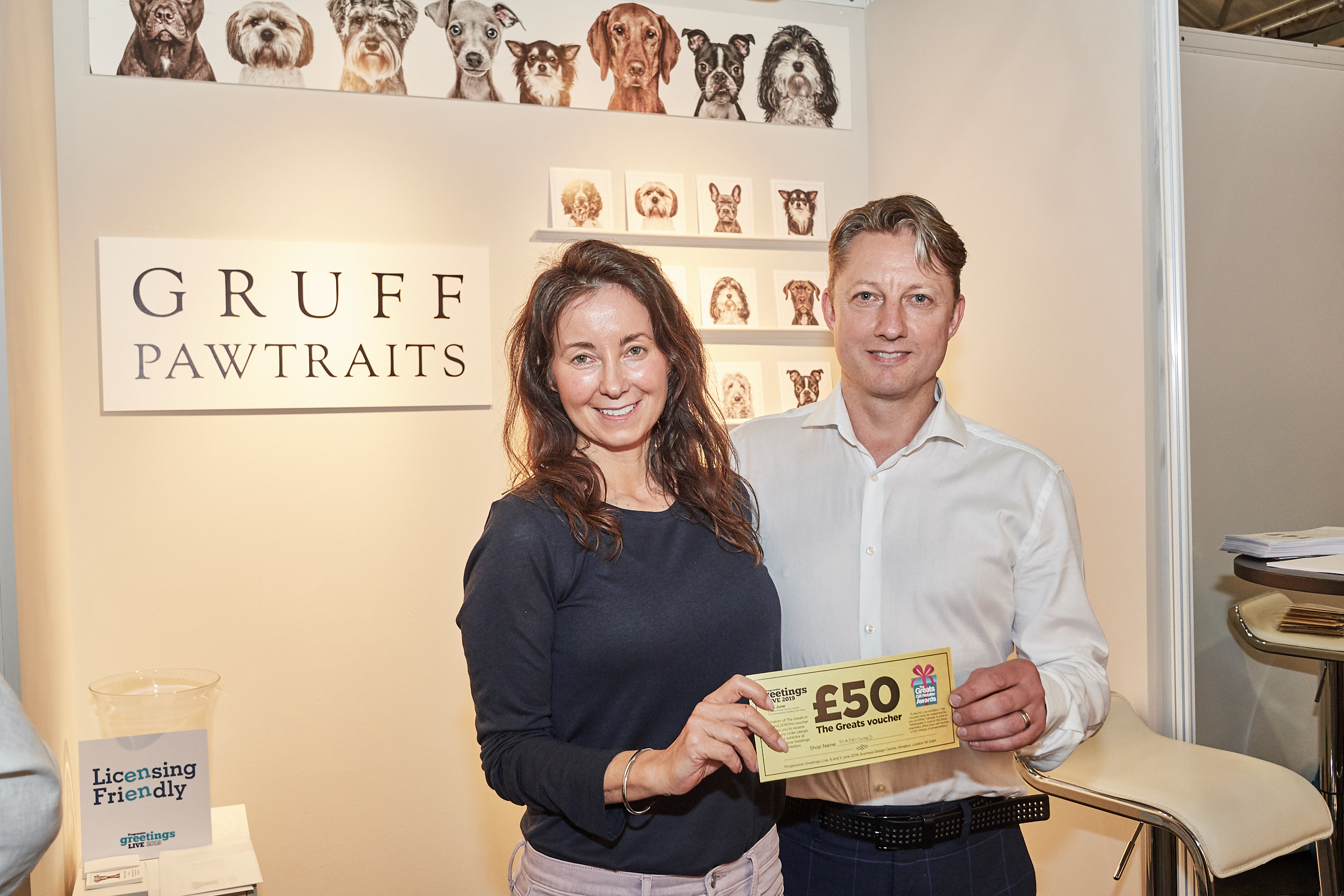 Above: Stephen McHale with Rhian Ap Gruffydd of Gruff Pawtraits at PG Live.