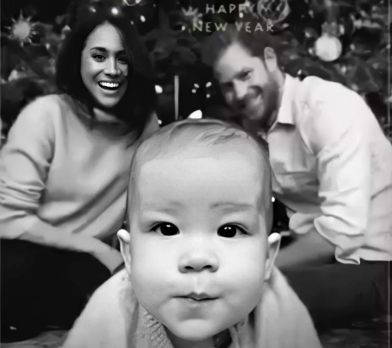 Above: A portion of the e-card sent by Prince Harry, Meghan and Archie this Christmas.