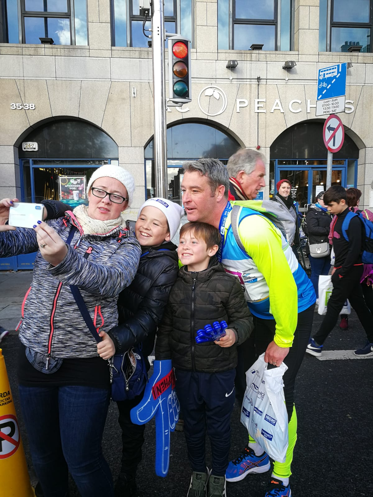 Above: Stephen with his wife and fellow agent Gillian and their children just after he had finished a marathon.