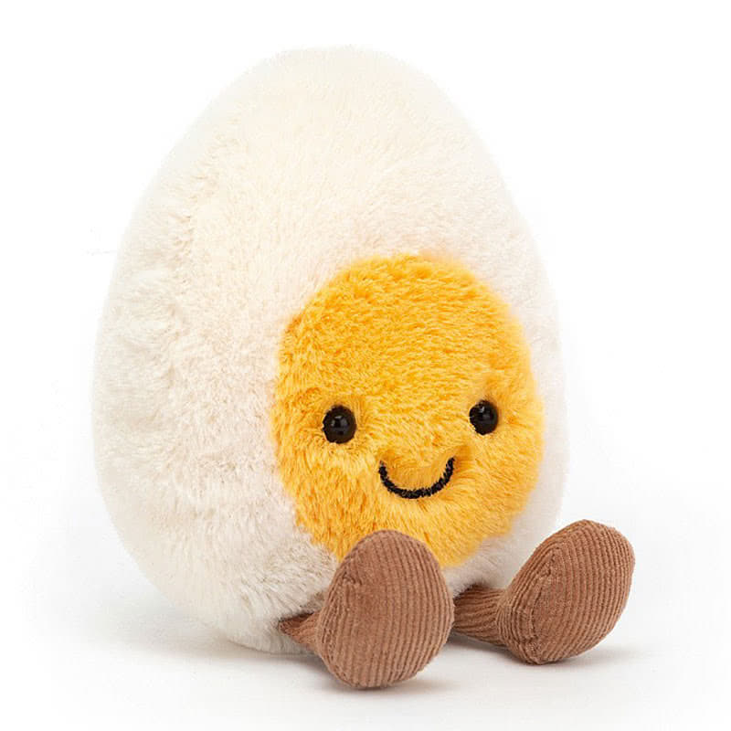Above: Cute and hard-boiled, egg plush from Jellycat's Amusables range.