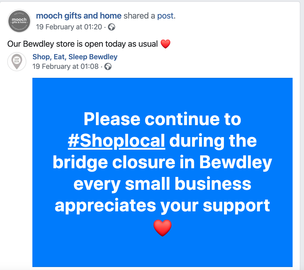 Above: One of the recent Facebook posts from Mooch to remind people that it was open despite the upheaval caused by the flood defences.
