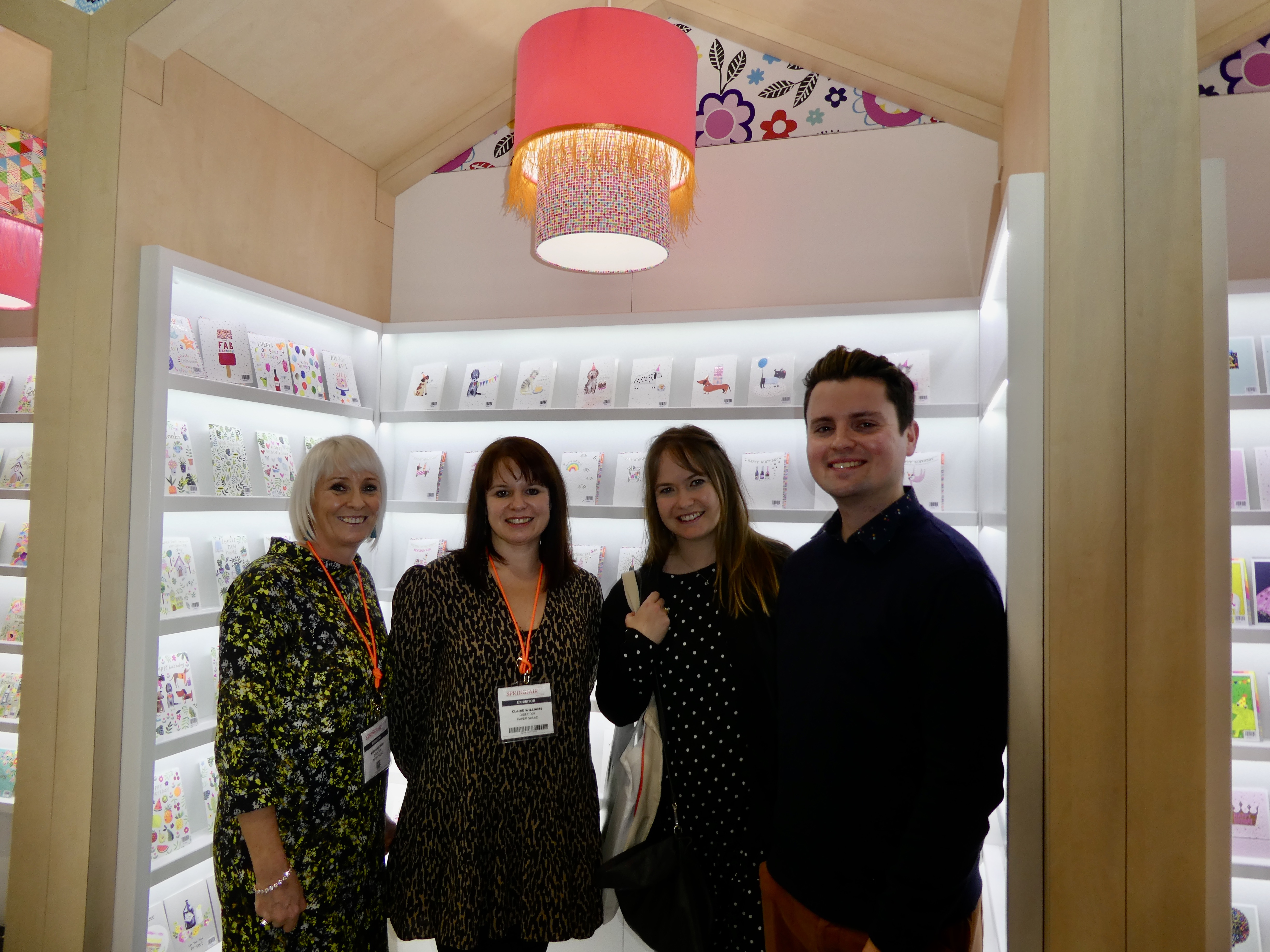 Above: Paperchase senior buyer Joe Guest (far right) is participating as a dragon for the first time. Seen here with assistant buyer Daisy Enticott (second right) on the Paper Salad stand at Spring Fair last week with the publisher's co-owners Karen Wilson (far left) and Claire Williams.