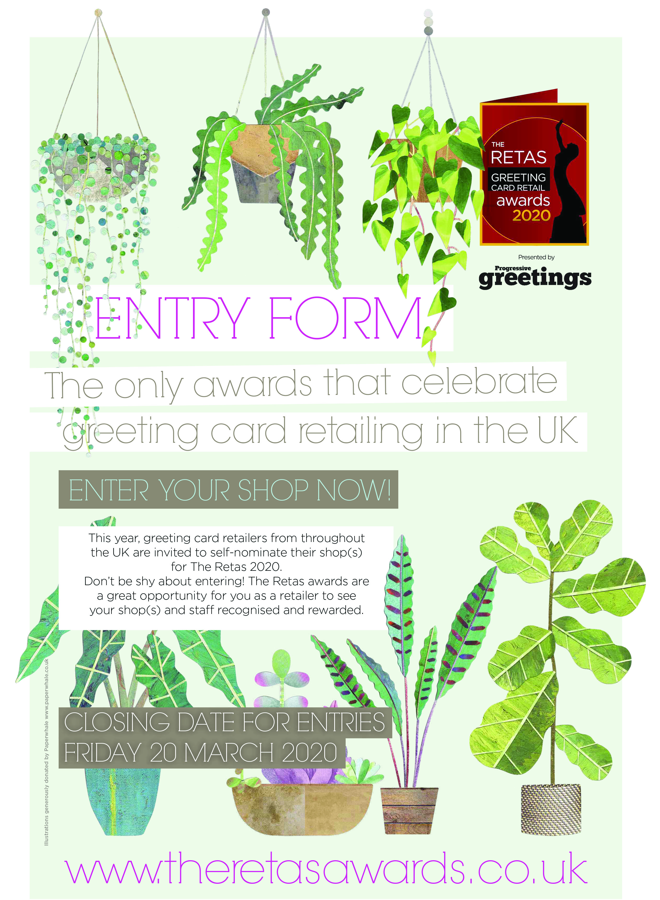 Above: The Retas entry form which features imagery by Lianne Harrison, founder of Paperwhale Cards in keeping with the Finery of Greenery theme of the awards event this year.