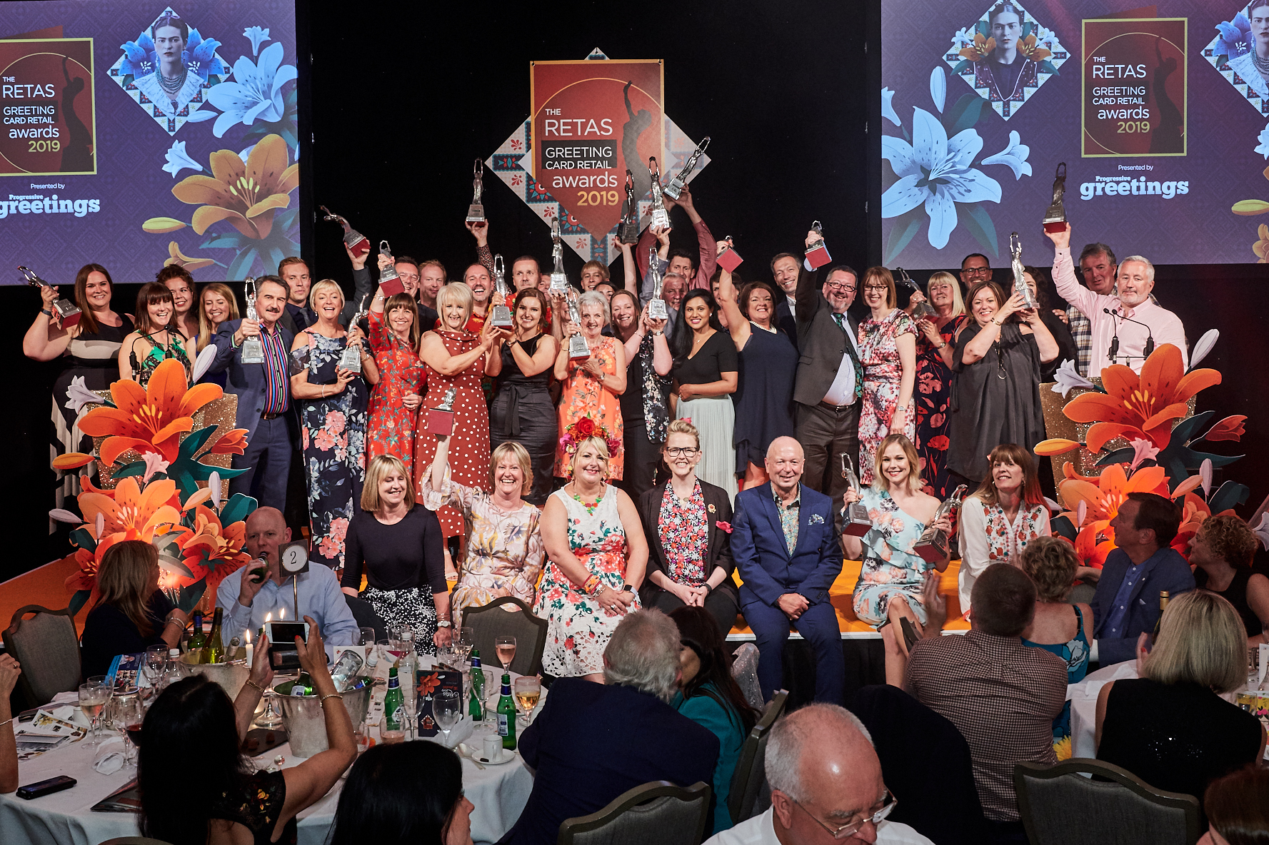 Above: The 2019 winners and organisers on stage at last year's Frida Kahlo-themed Retas.