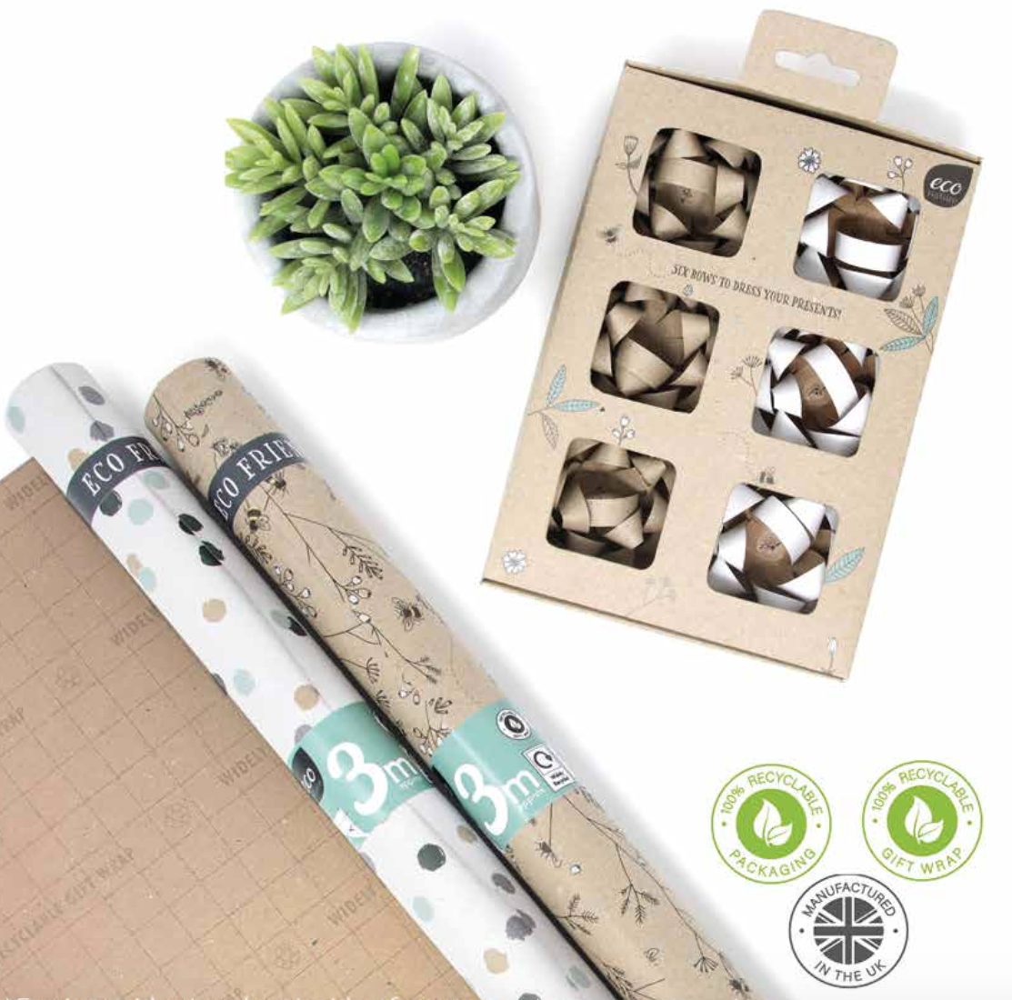Above: The rollwrap in the new collection does not include any plastic shrinkwrap and the bows are all made of paper.