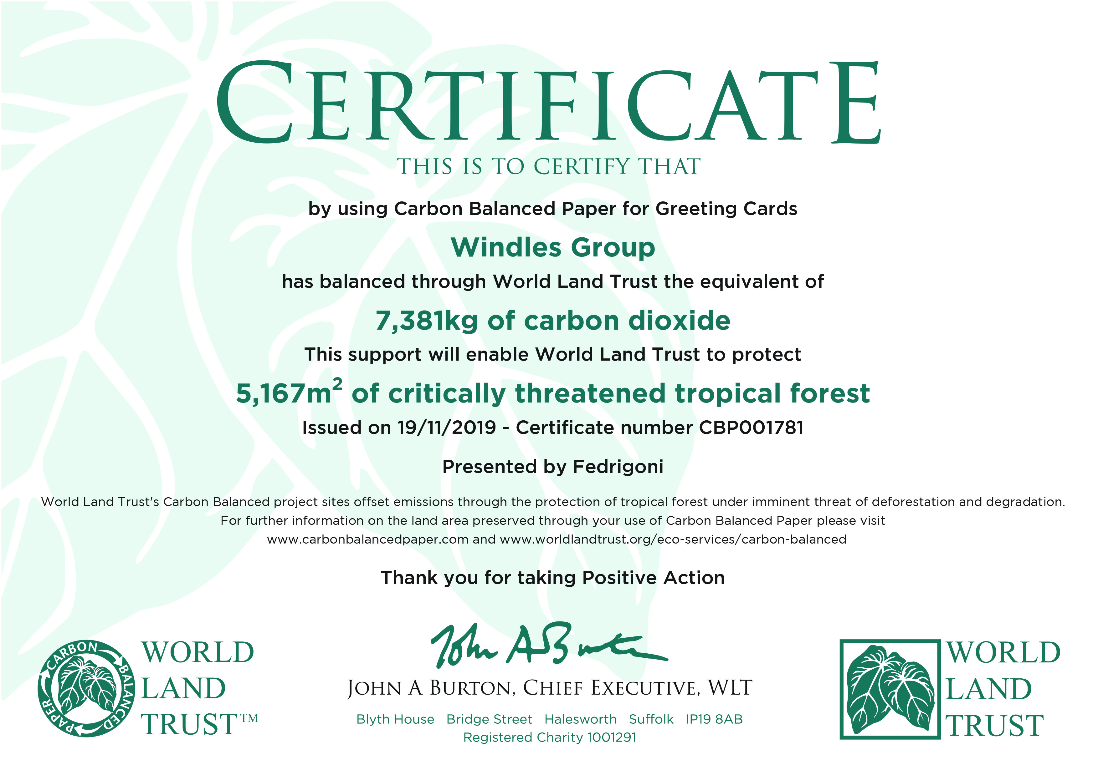Above: A World Land Trust certificate that participating publishers will receive quarterly, biannually or annually. The greater volumes publishers use the more value they will be contributing. Calculations are based upon tonnes of material they use which create offset.