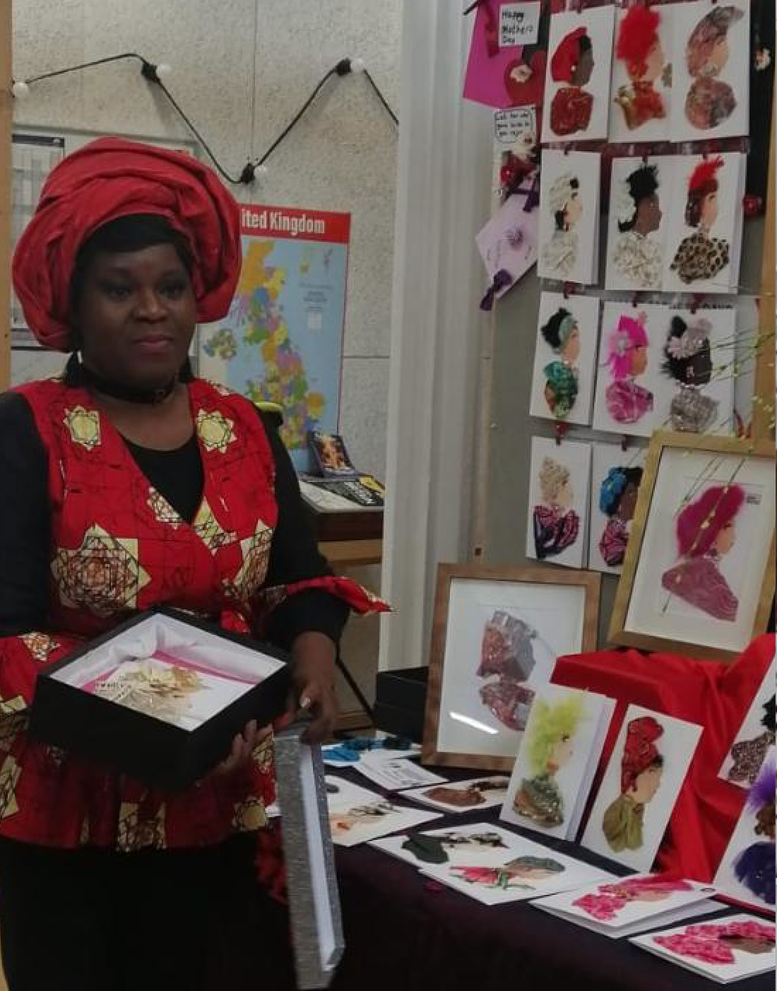 Above: Dayo explained how her handmade card designs celebrates the 19 different skin tones of the UK population.