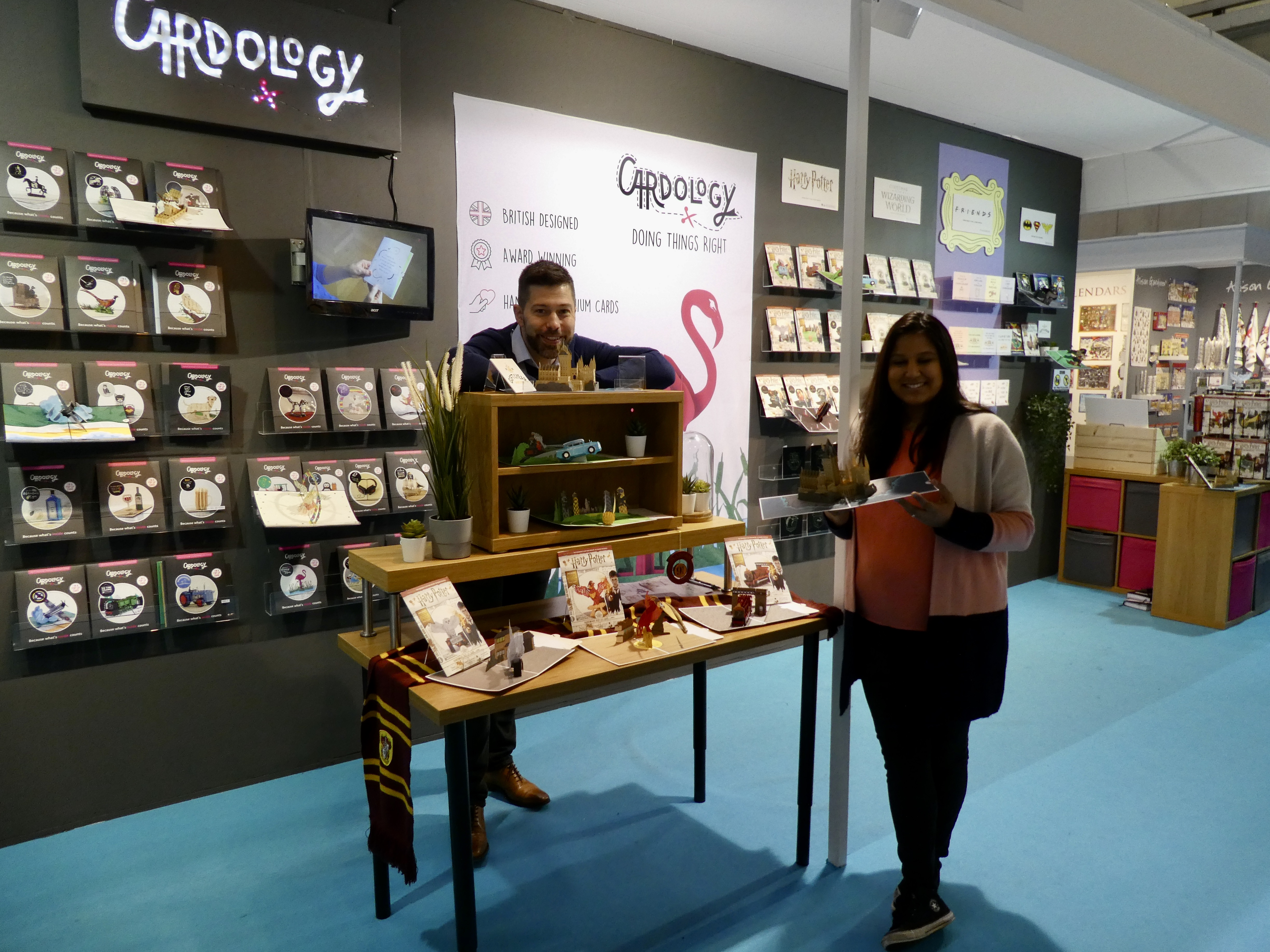 Above: Cardology's co-owners David Falkner and Dipa Shah worked their 'magic', officially launching its Harry Potter 3D card range.