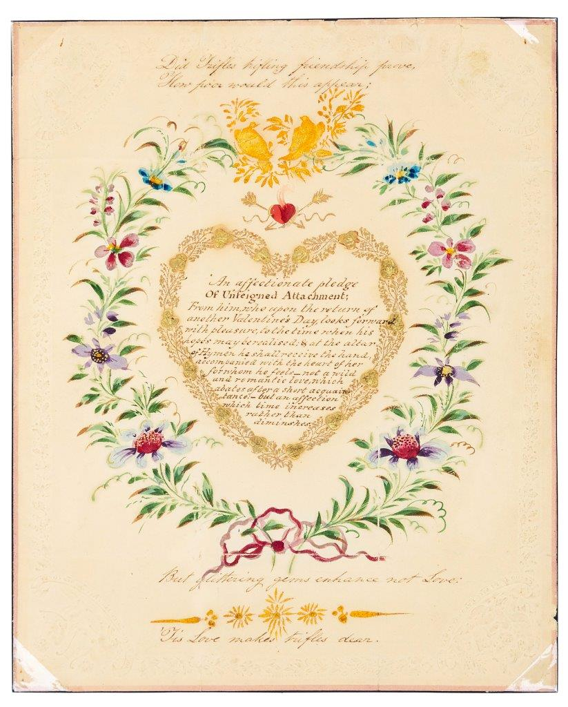 Above: The beautiful 1818 Regency letter is believed to be one of the earliest posted Valentines.