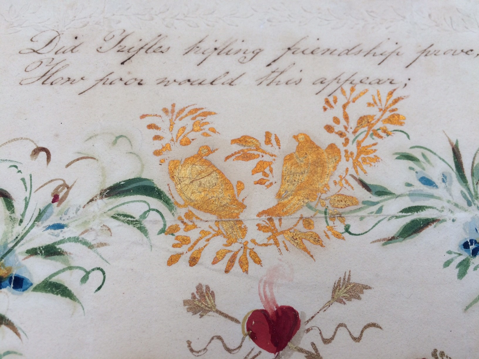 Above: A close up of part of the Valentine letter.