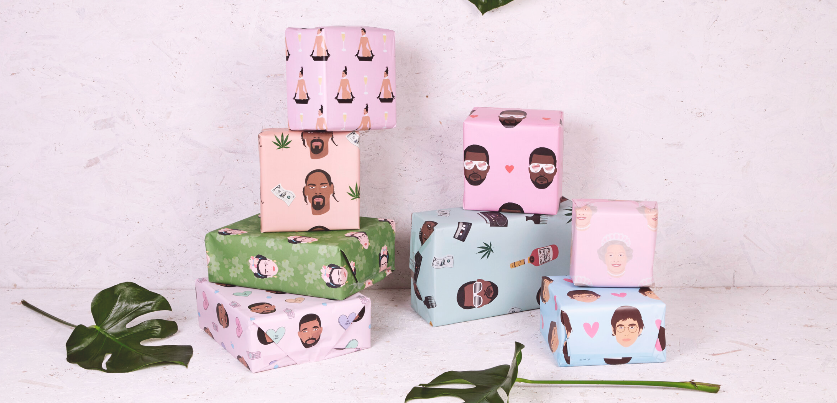 Above: Frida Kahlo, the Queen and Snoop Dogg also feature on Rumble Cards' celeb wrap collection.