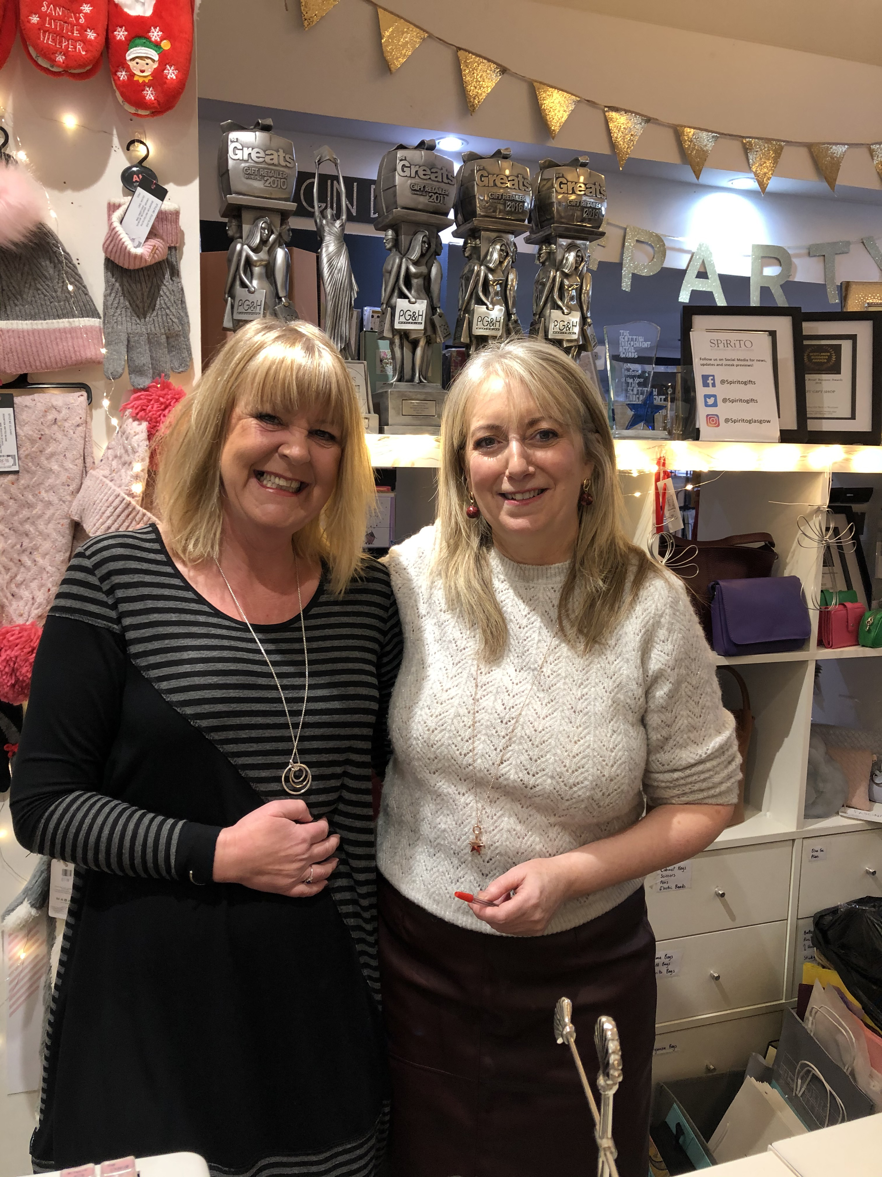Above: Corinne Forbes (left) with retail customer, Denise Laird of Spirito, Glasgow.