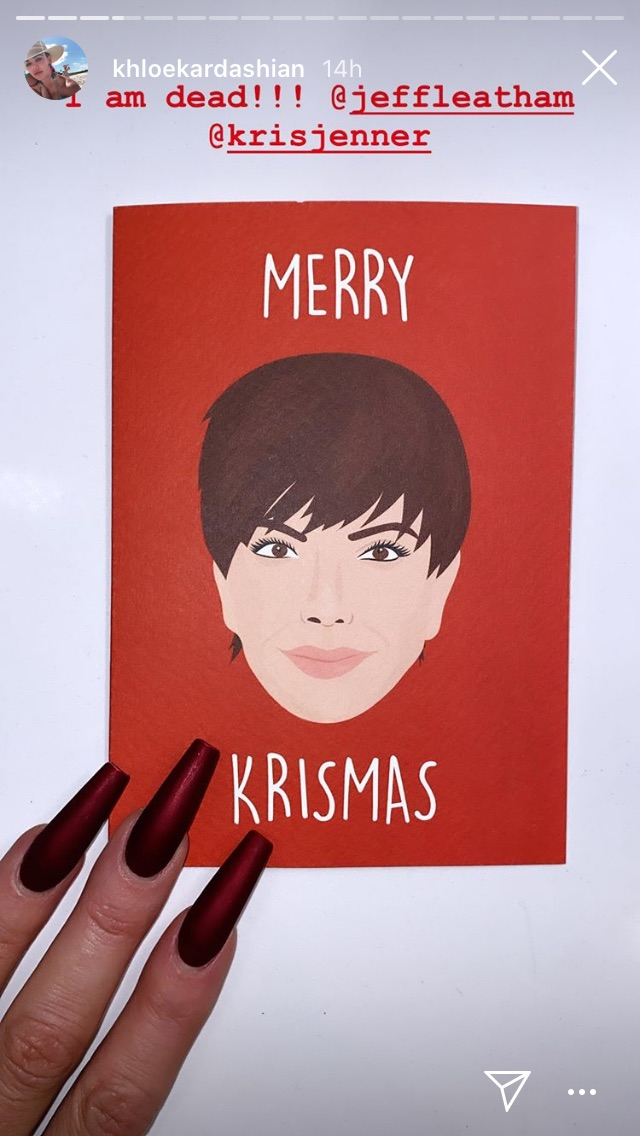 Above: The Kris Jenner Christmas card from Rumble.